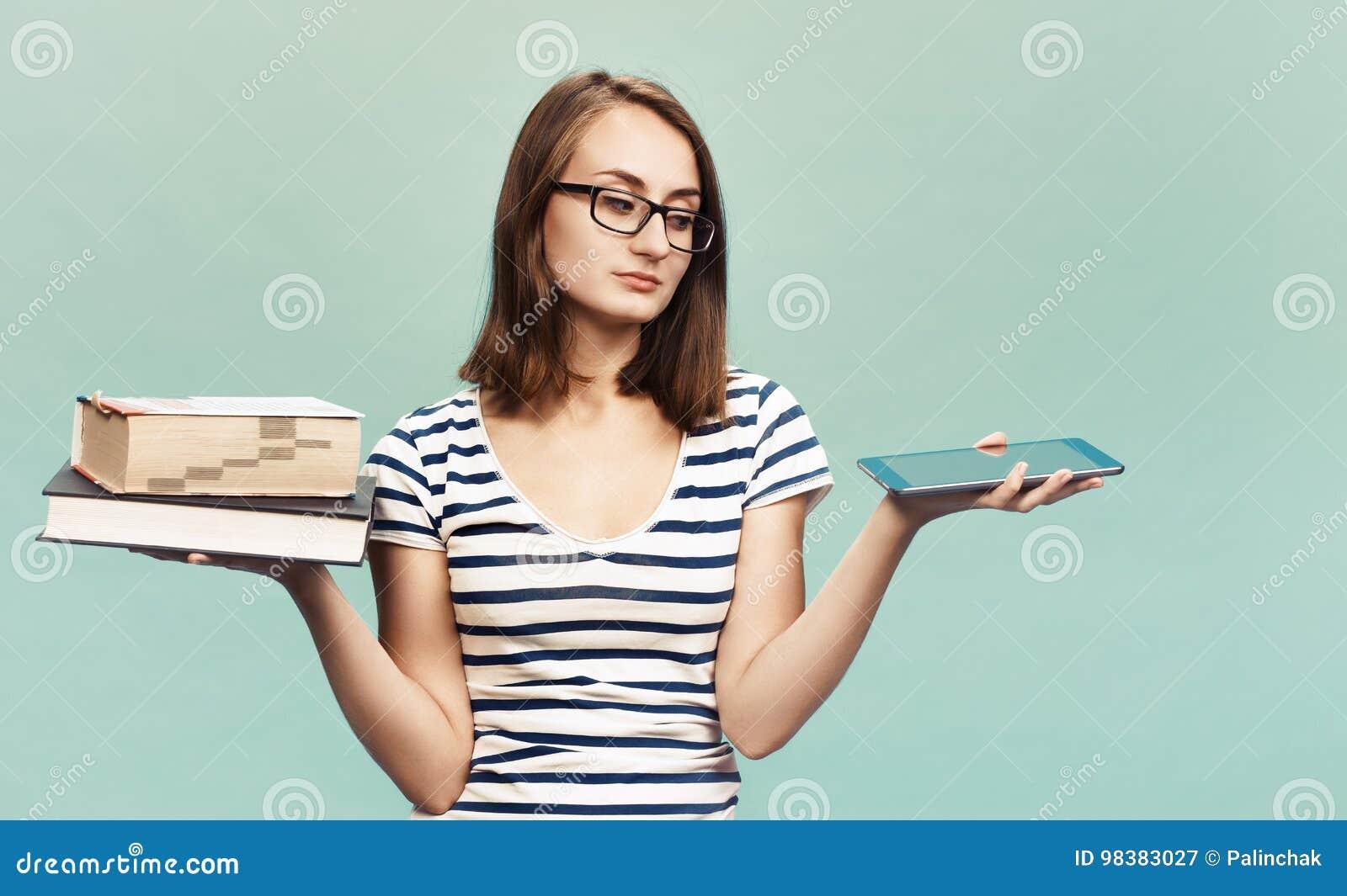Ebook Vs Book Stock Image Image Of Girl Ebook Choosing