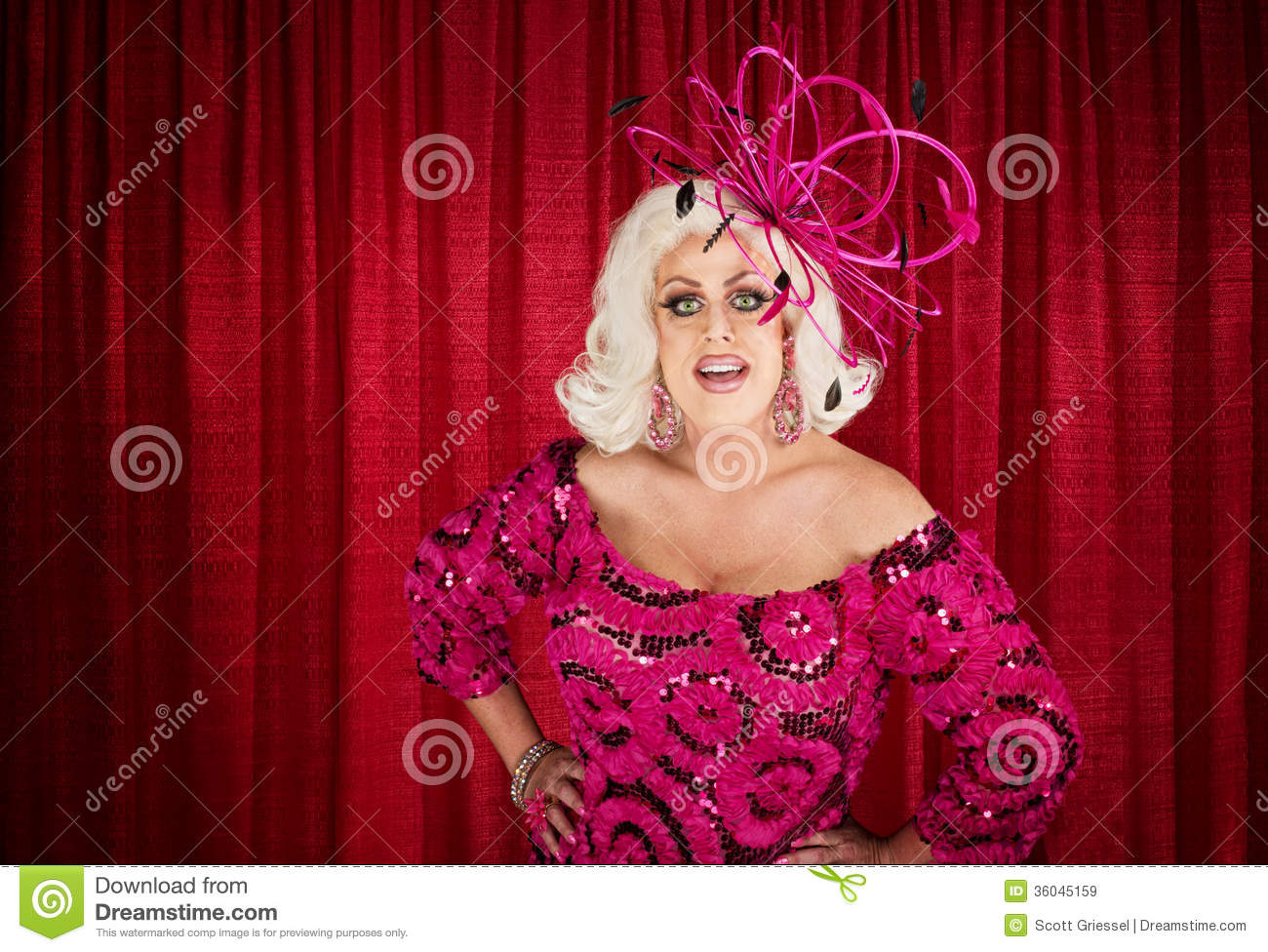 Eccentric Drag Queen With Hands On Hip Stock Image Image