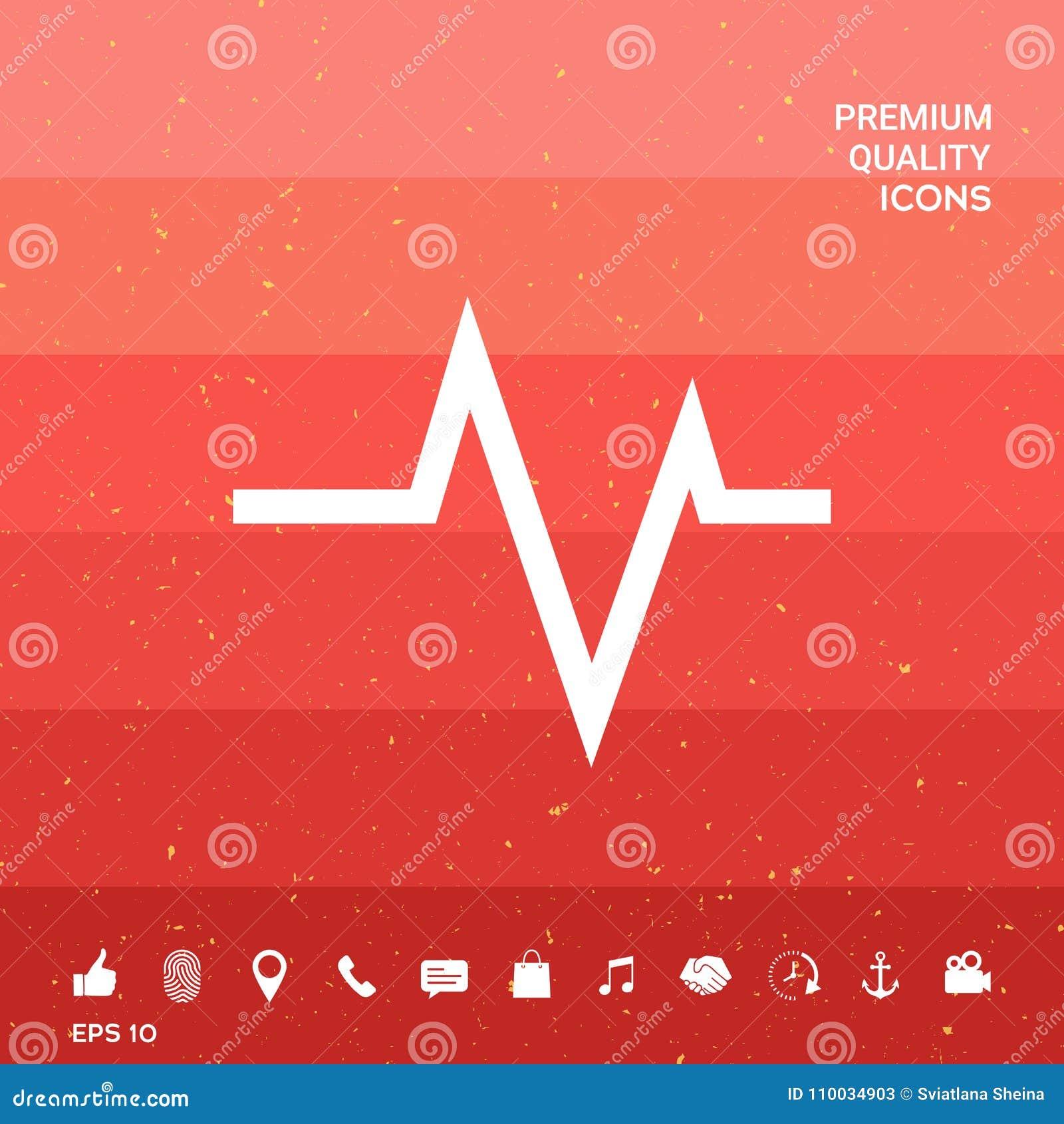 ECG-golf - cardiogramsymbool Medisch pictogram