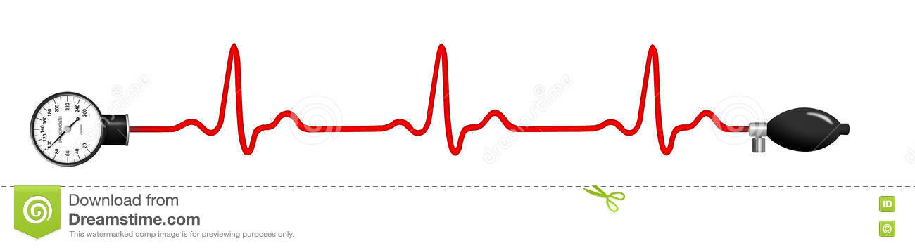 ECG graph with blood pressure gauge
