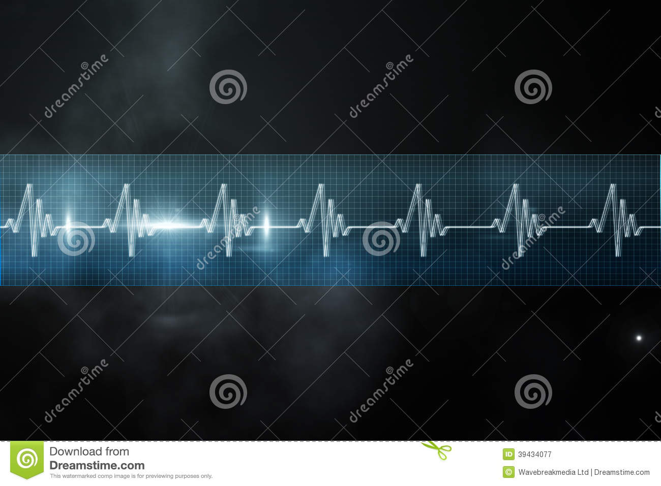 ECG line in blue and black