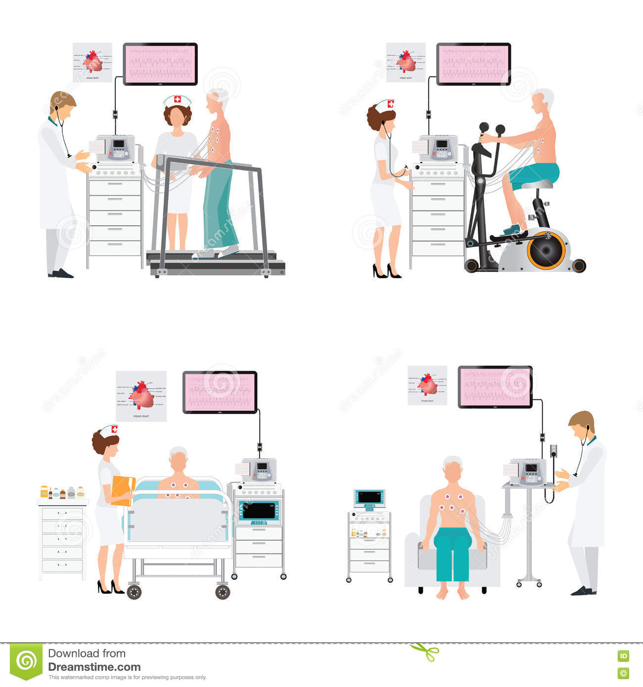 Stress Test Treadmill: ECG Test Or Exercise Stress Test For Heart Disease On