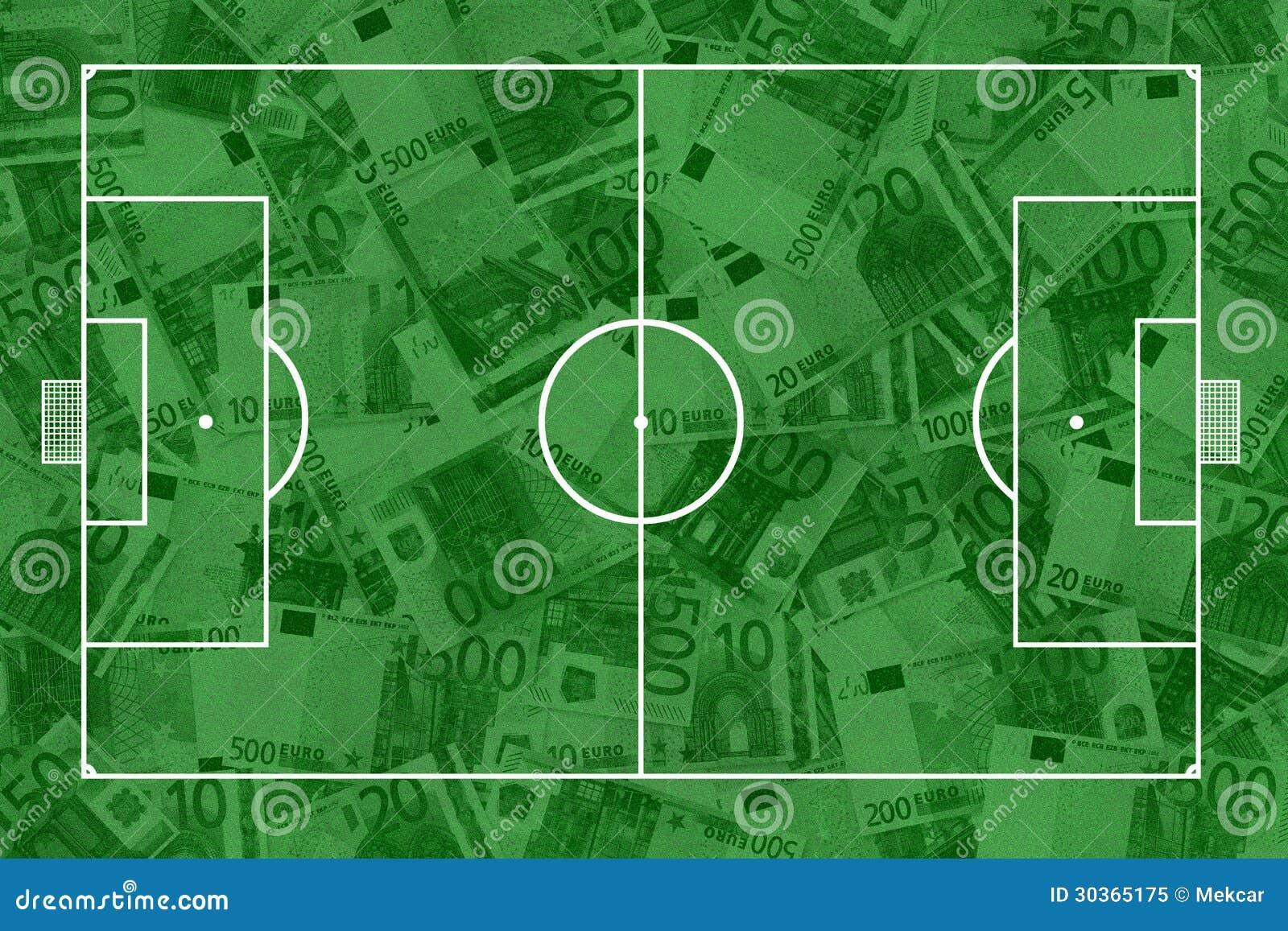 Echada y billetes de banco del fútbol