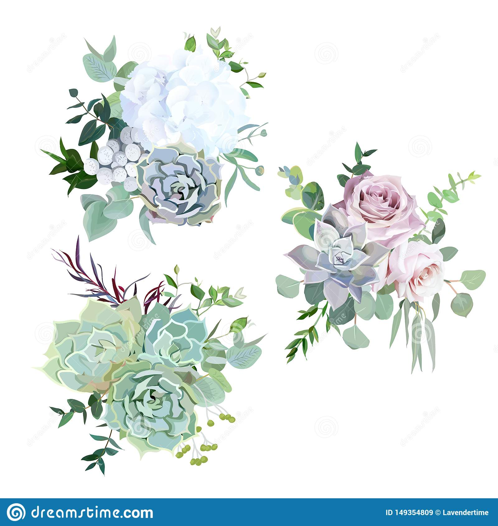 Echeveria Blue Grey Mint Succulents White Hydrangea Pale Pink And Lavender Rose Greenery Stock Vector Illustration Of Botanical Nature 149354809