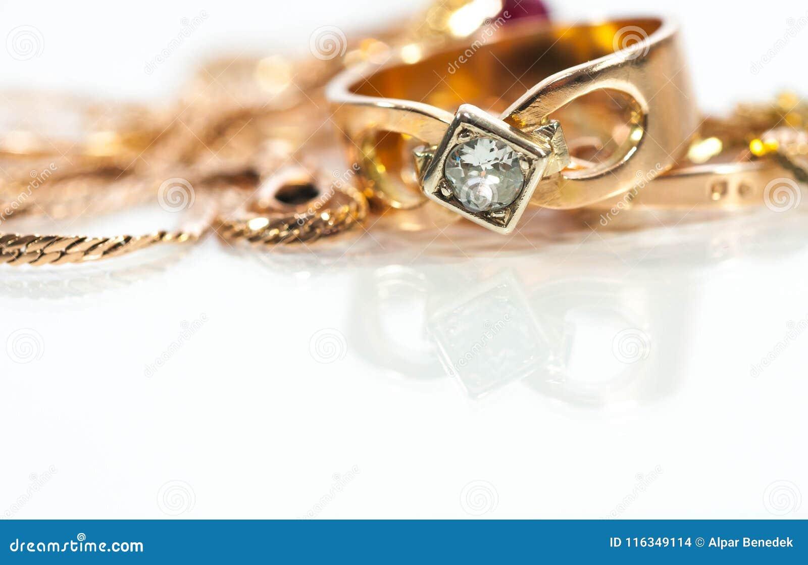 Echte gouden ringen, kettingen, diamanten