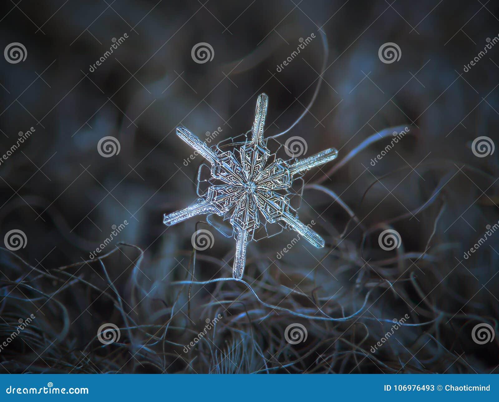 Echte sneeuwvlok die op donkere geweven achtergrond gloeien