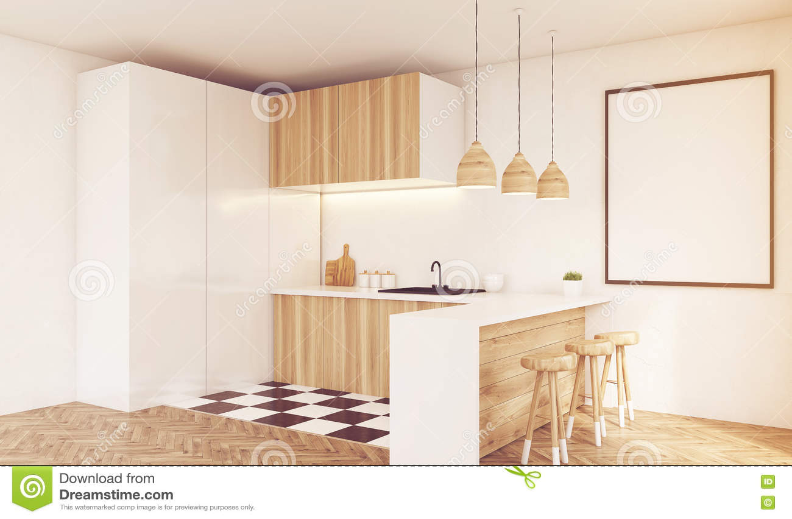 Ecke Der Hellen Hölzernen Küchenarbeitsplatte, Getont Stock ...
