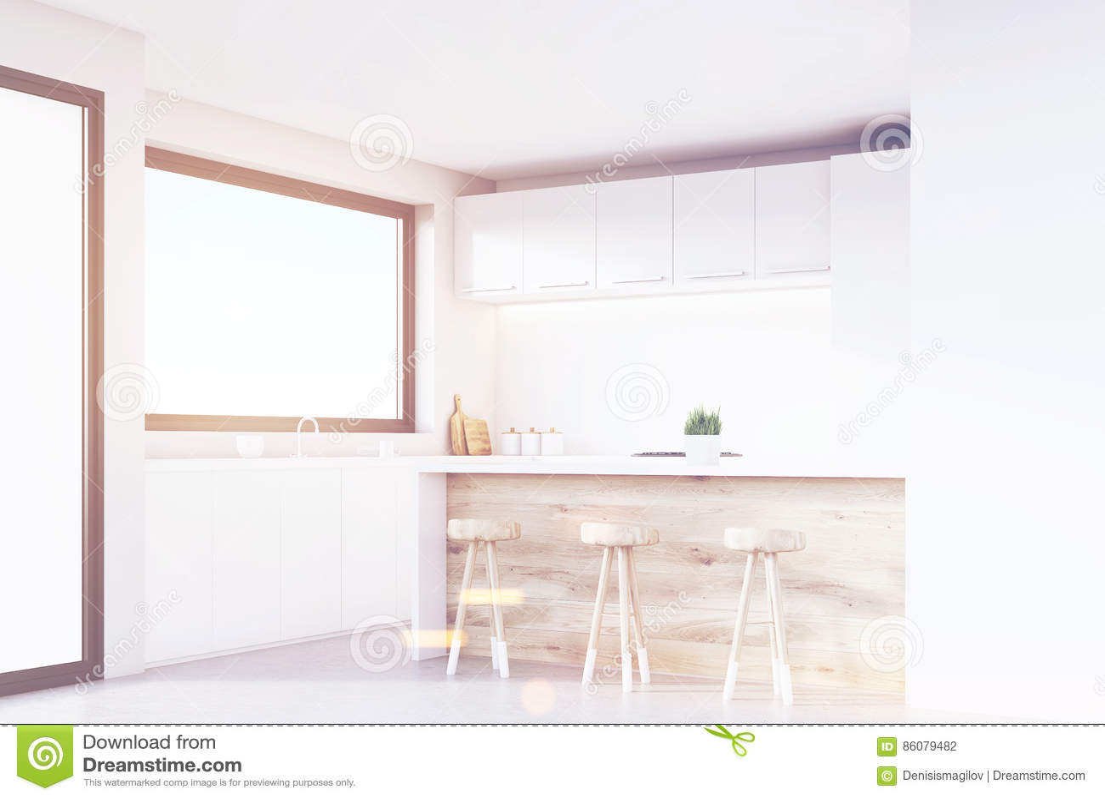 Ecke Der Küche Helles Holz Getont Stock Abbildung Illustration