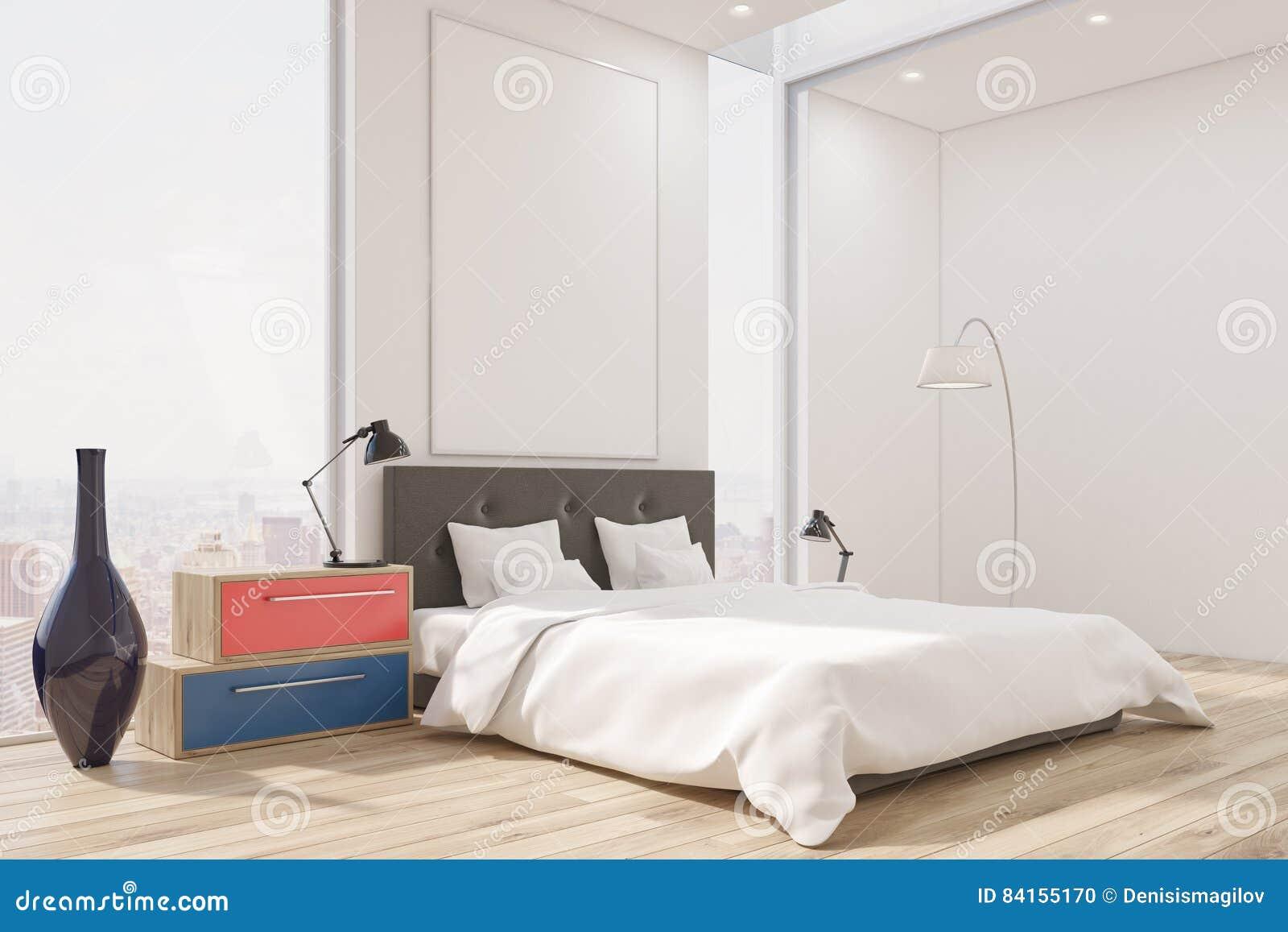 Ecke Eines Hauptschlafzimmers Mit Einem Bett Ein Satz Facher Ein