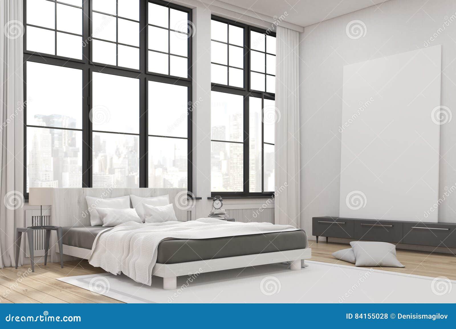 Ecke Eines Hauptschlafzimmers Mit Einem Bett Ein Satz Facher Und