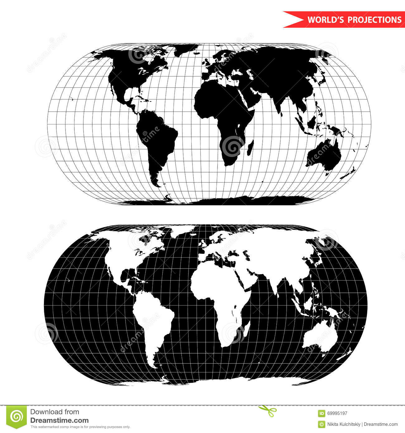 Eckert world map projection stock vector illustration of latitude eckert world map projection gumiabroncs Gallery