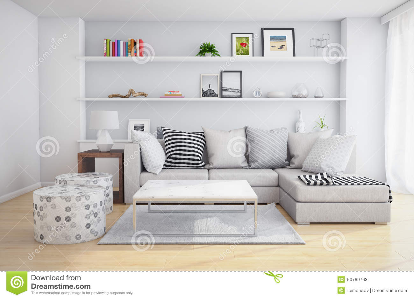 Eckiges Sofa und Abendessenlastwagen im Innenraum