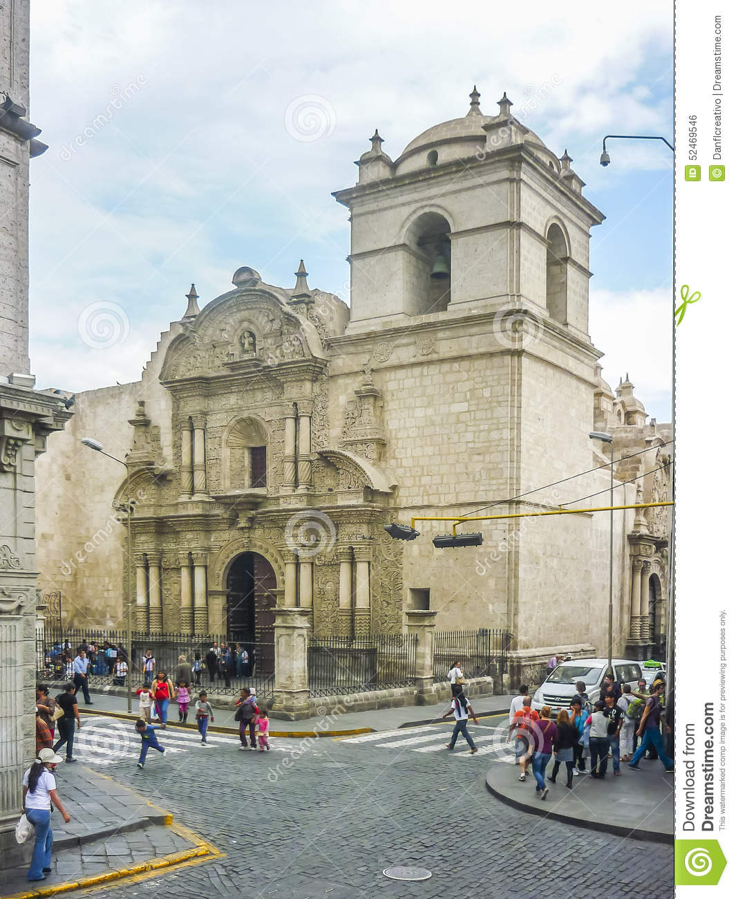 Urban View: Eclectic Old Style Church In Arequipa City Editorial Photo