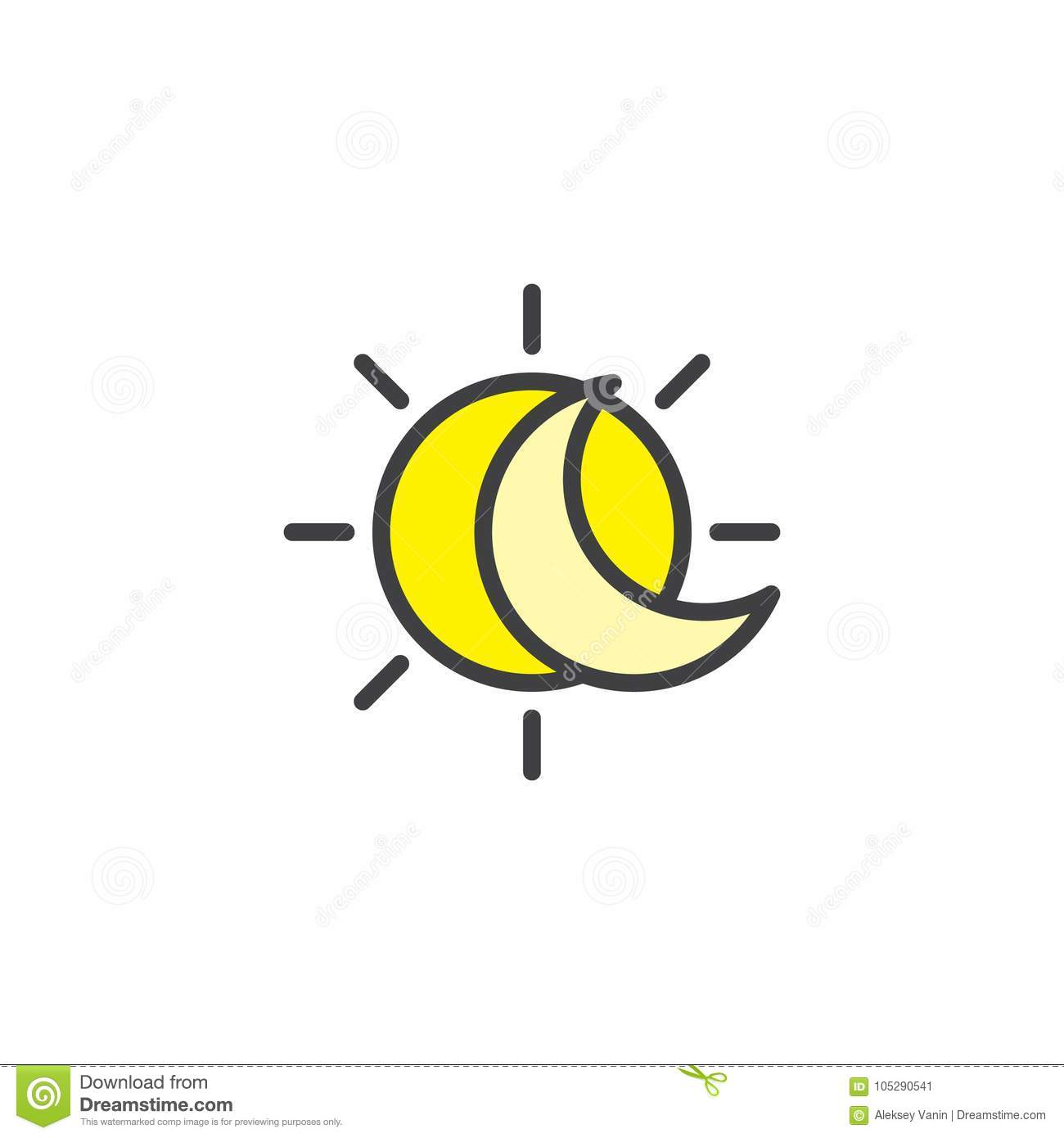 Eclipse With Sun And Crescent Moon Filled Outline Icon Stock