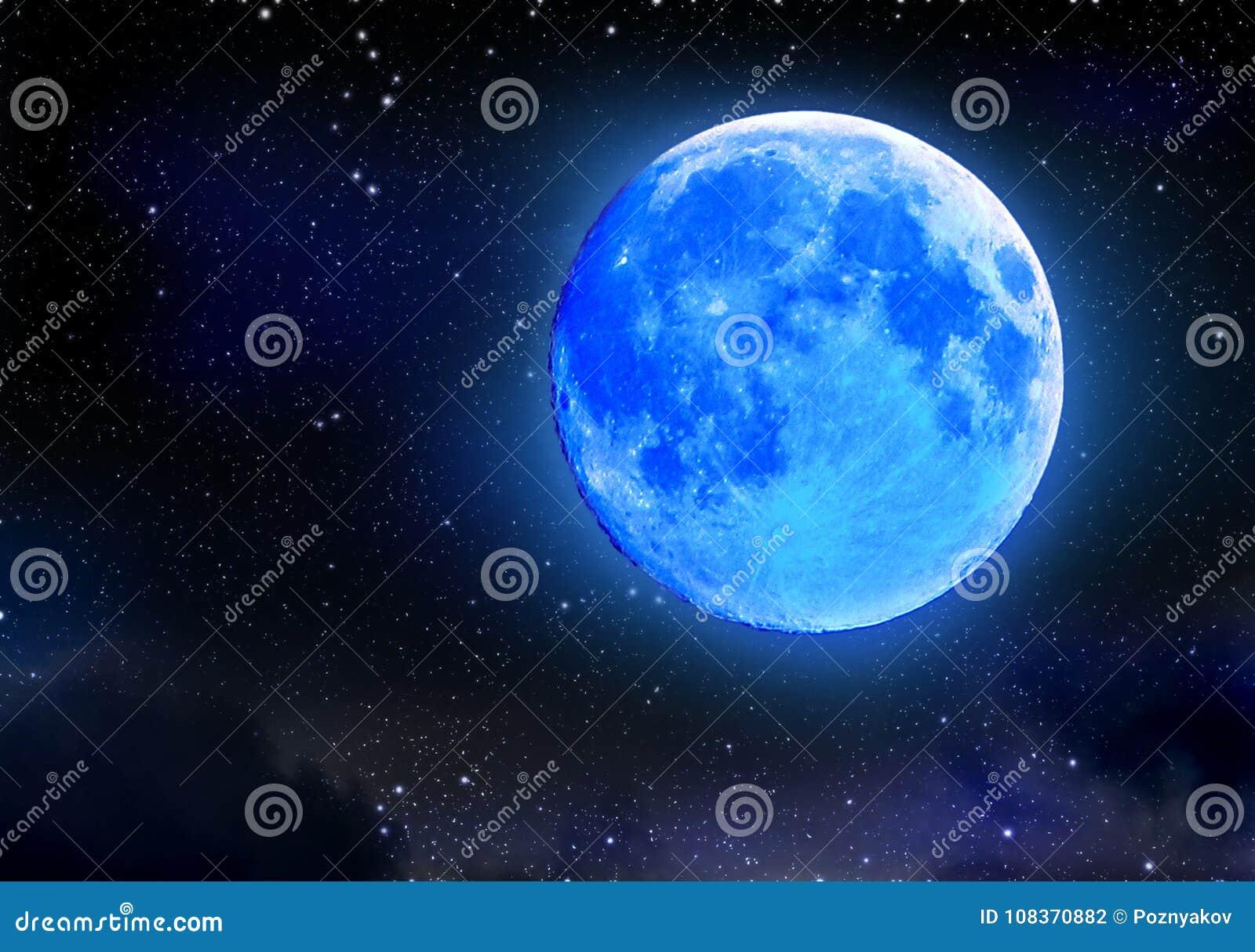 Blue Dream Cielo Stellato Costo.Eclissi Della Luna Blu Sul Cielo Stellato Di Notte Fenomeno Naturale
