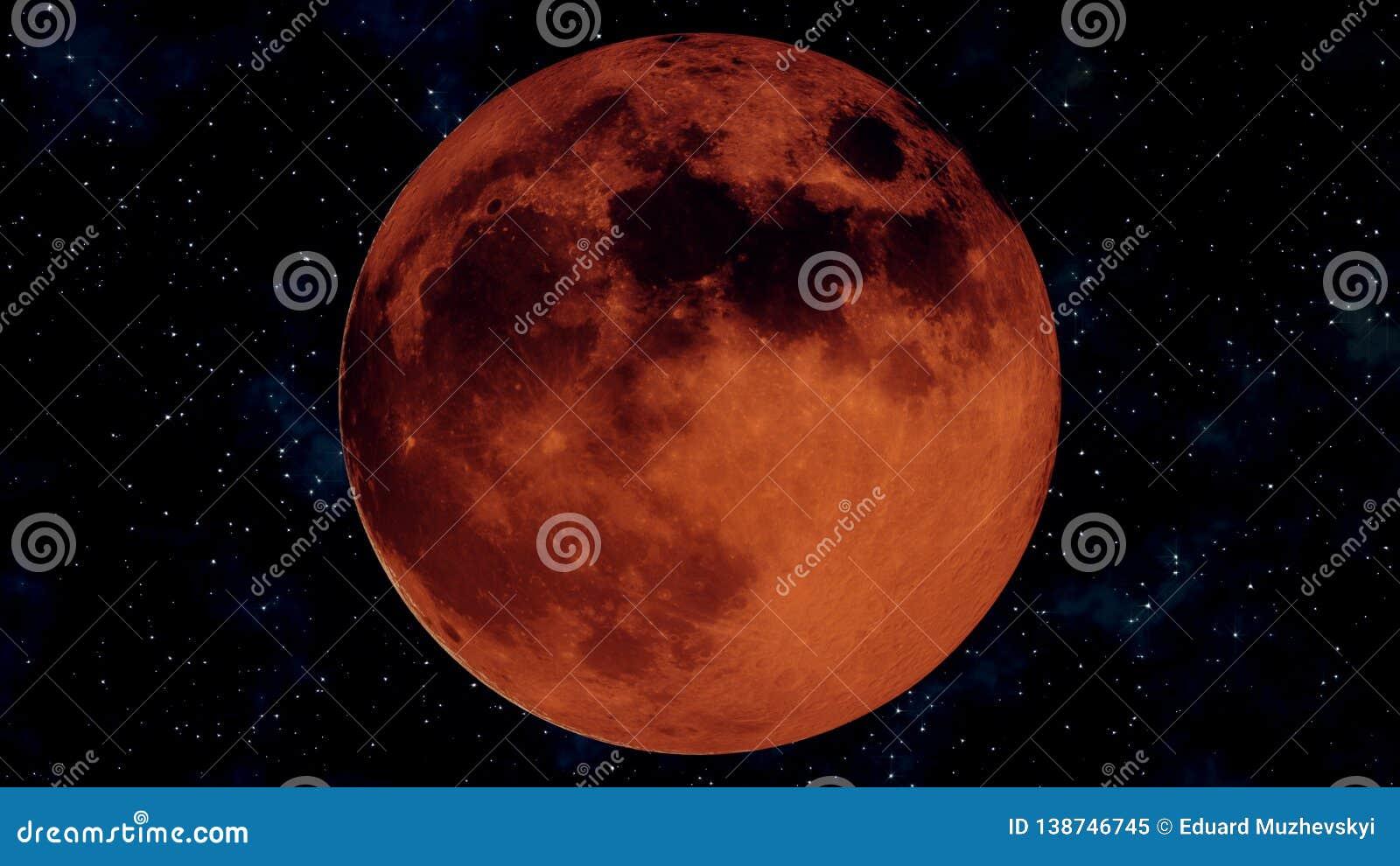 Eclissi lunare completa realistica Illustrazione della luna 3D del sangue