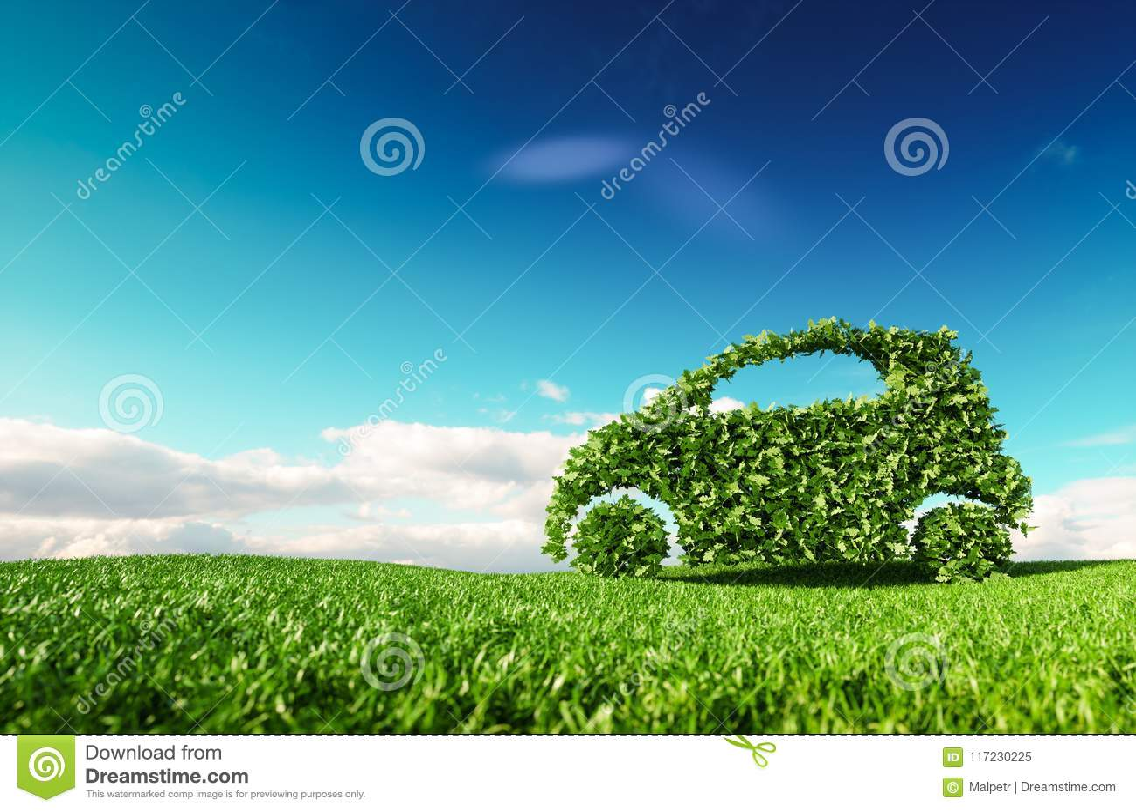 Eco友好的汽车发展,驾驶清楚的生态,没有pollutio