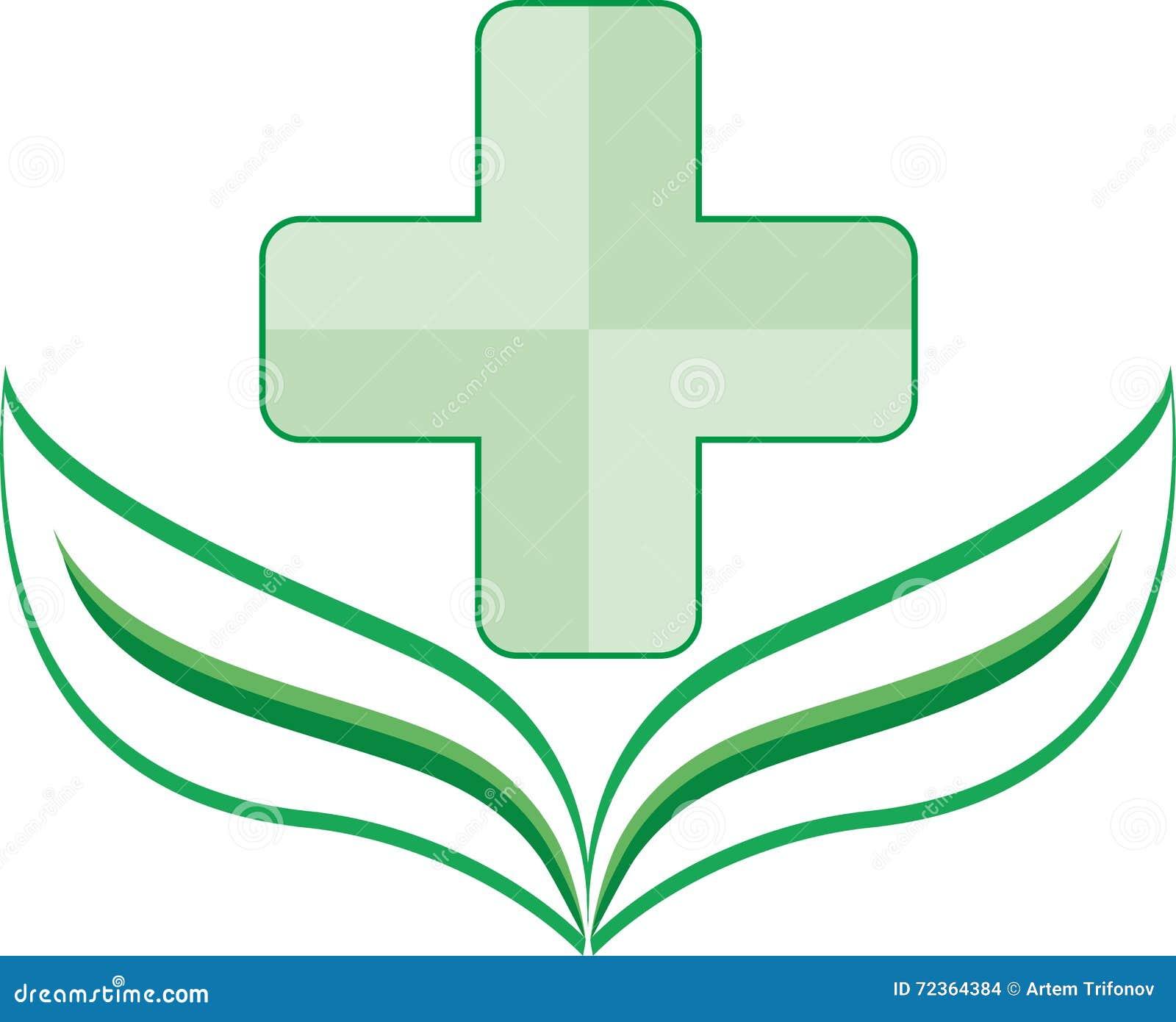 Eco商标与一片叶子的诊所绿色在基地