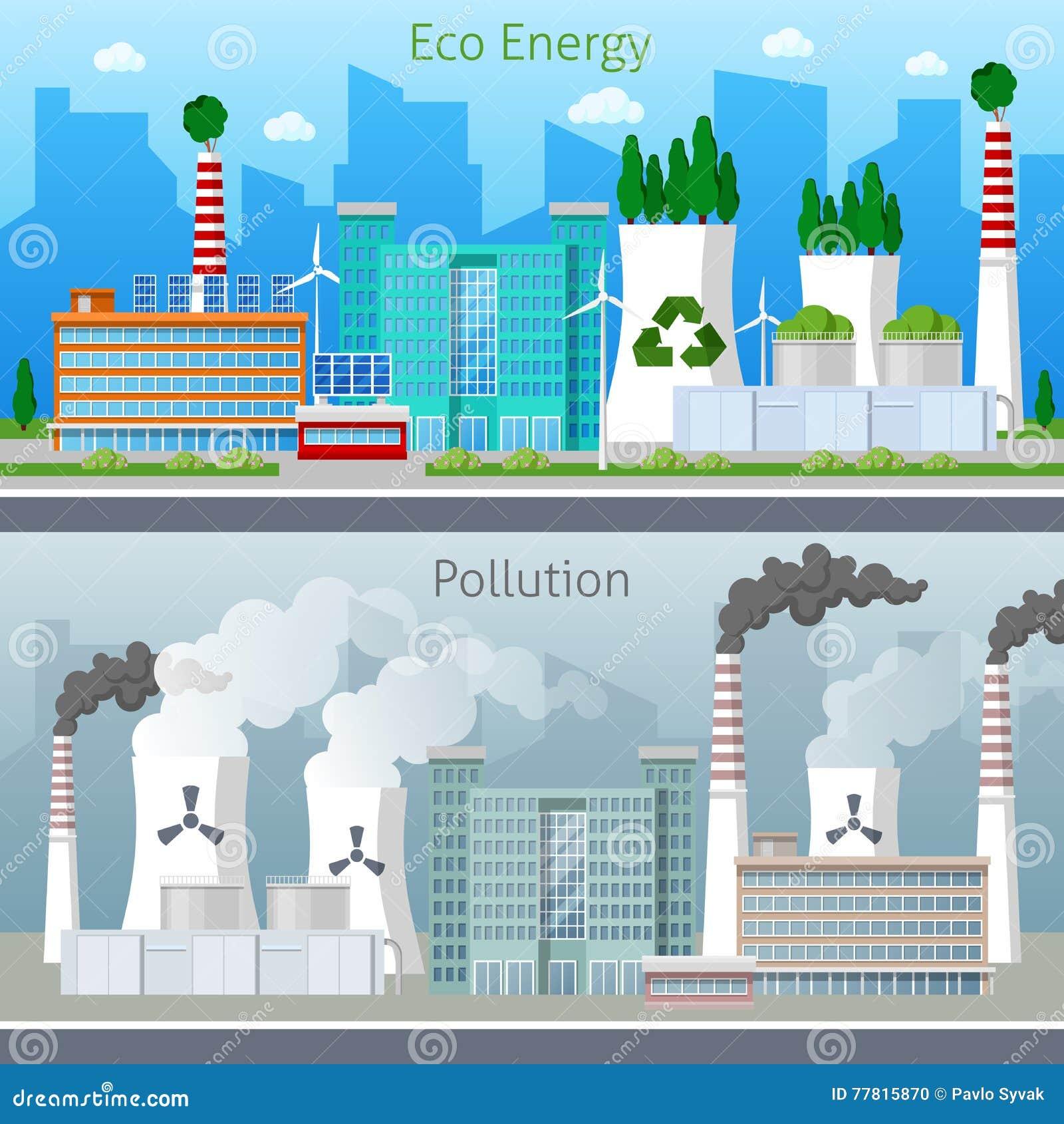 Eco工厂绿色能量和大气污染都市风景