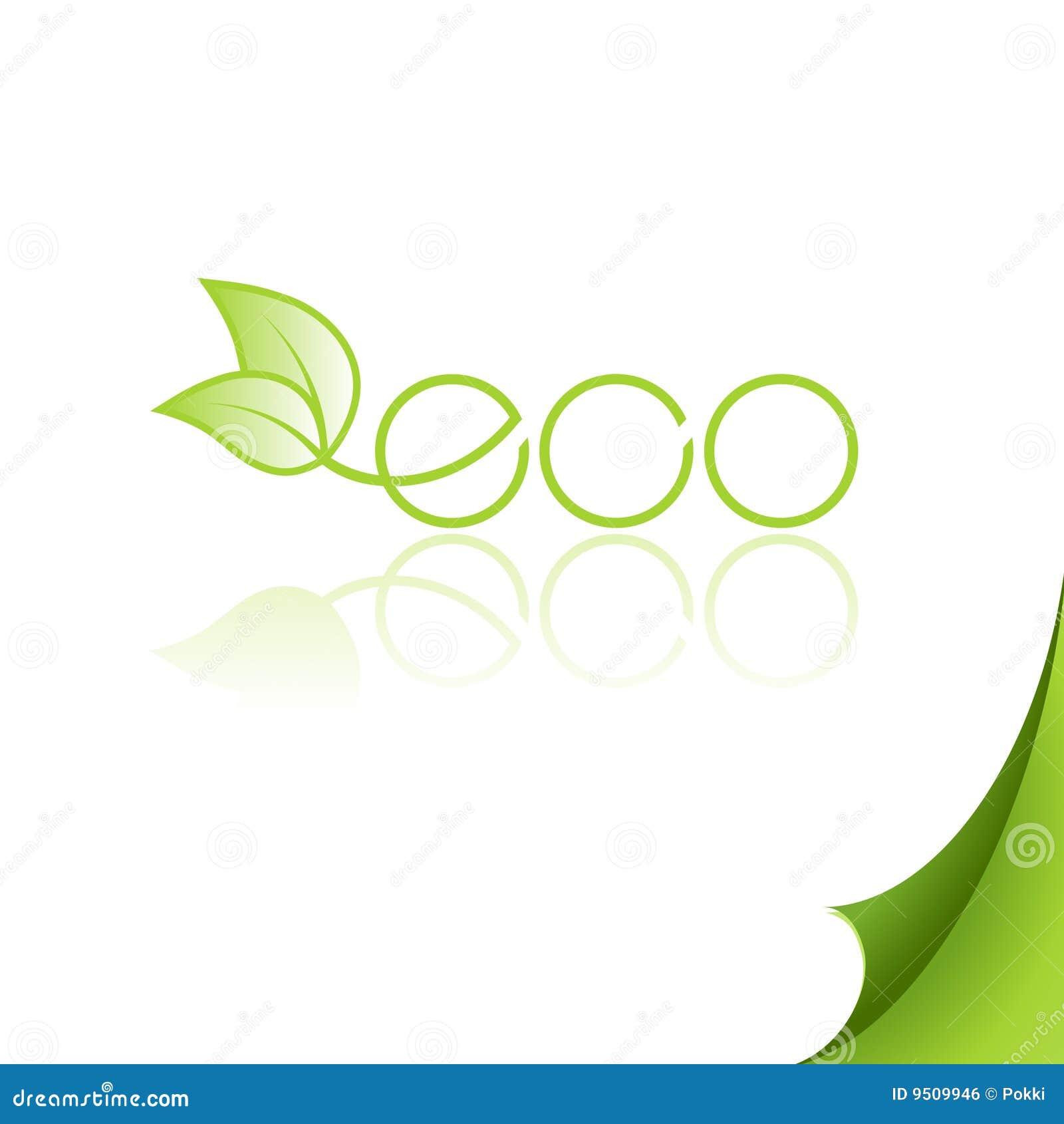 Eco徽标纸张反映