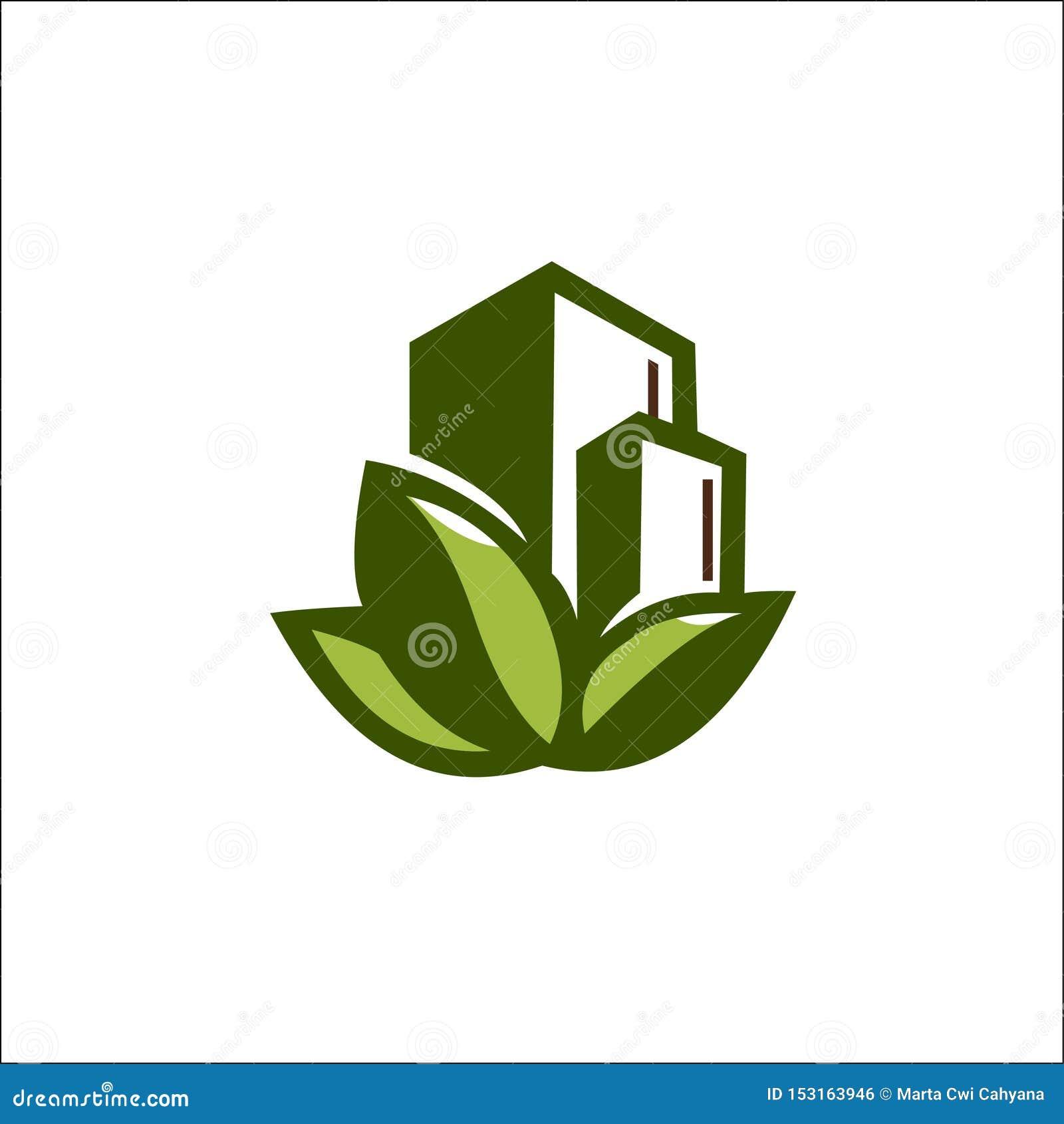 Eco自然大厦商标传染媒介模板
