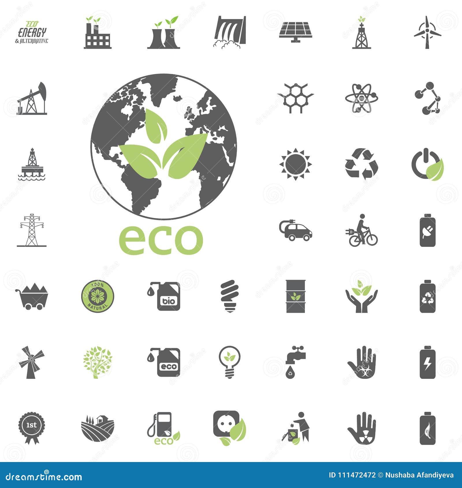 Eco行星象 Eco和可选择能源传染媒介象集合 能源电电力资源集合传染媒介