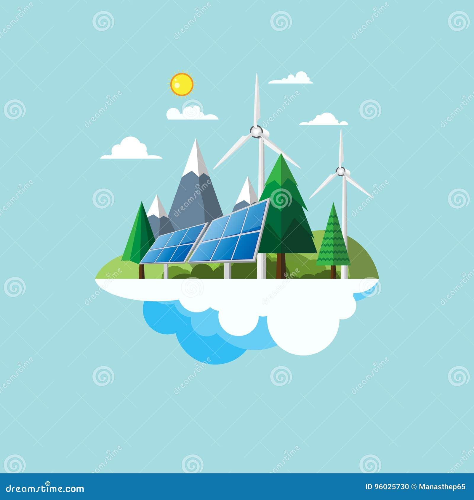 Eco życzliwego pojęcia płaski projekt