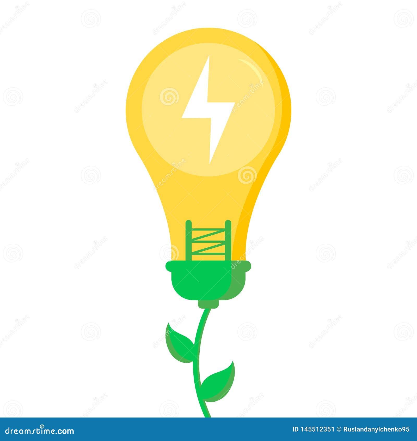 Eco amistoso, ahorra el concepto del planeta y de la energ?a, plano-estilo Energ?a y ecolog?a