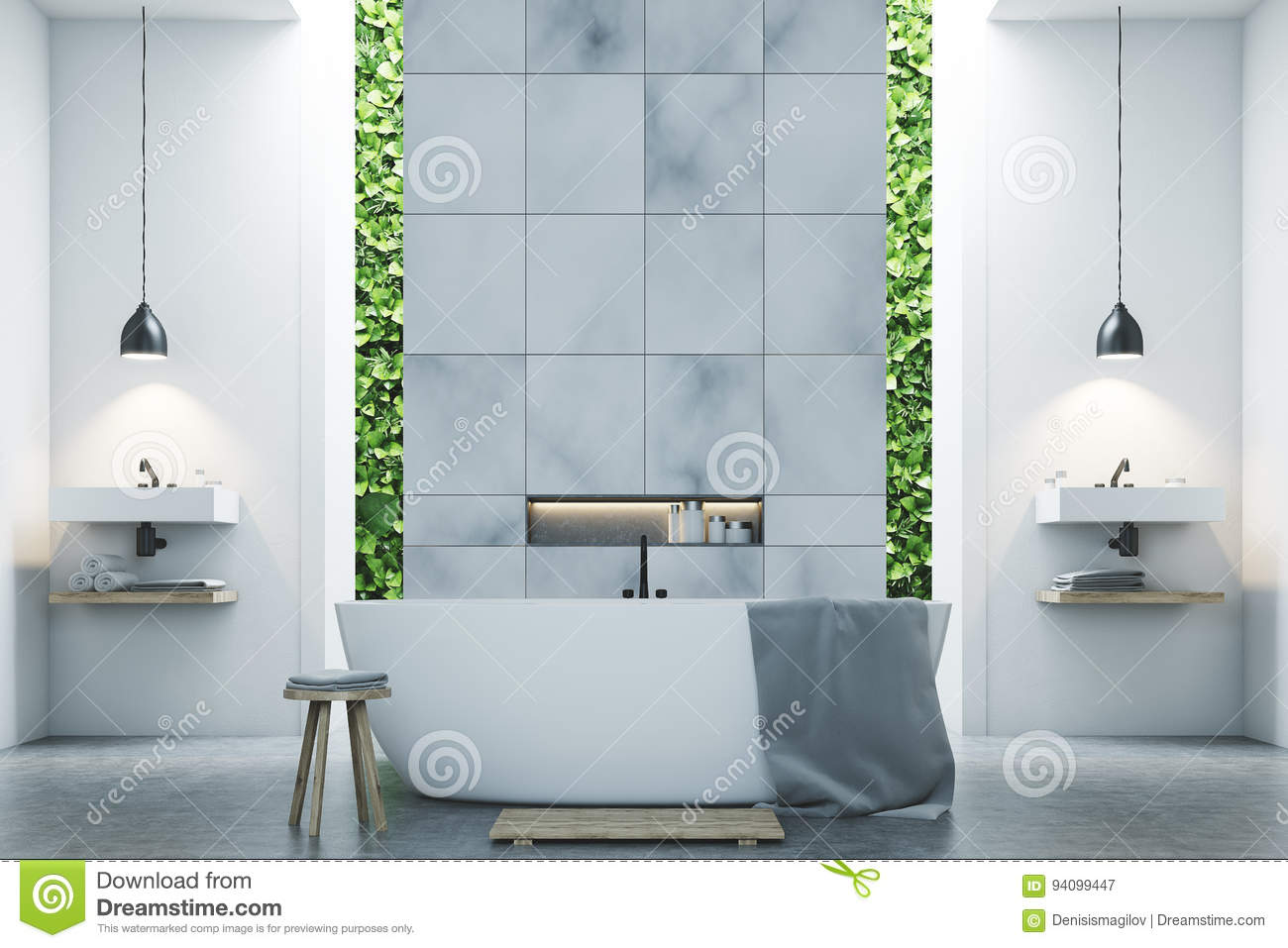 Eco Bathroom Two Sinks, Marble Tiles Stock Illustration ...