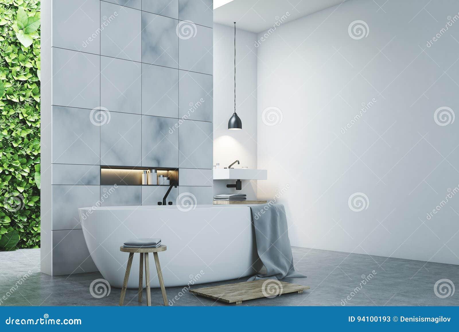 Eco Bathroom Two Sinks, Marble Tiles Side Stock Illustration ...