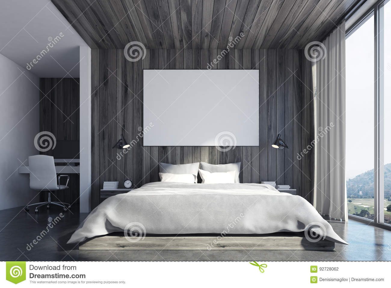 Eco Bedroom With Poster Front Stock Illustration Illustration Of Pillow House 92728062