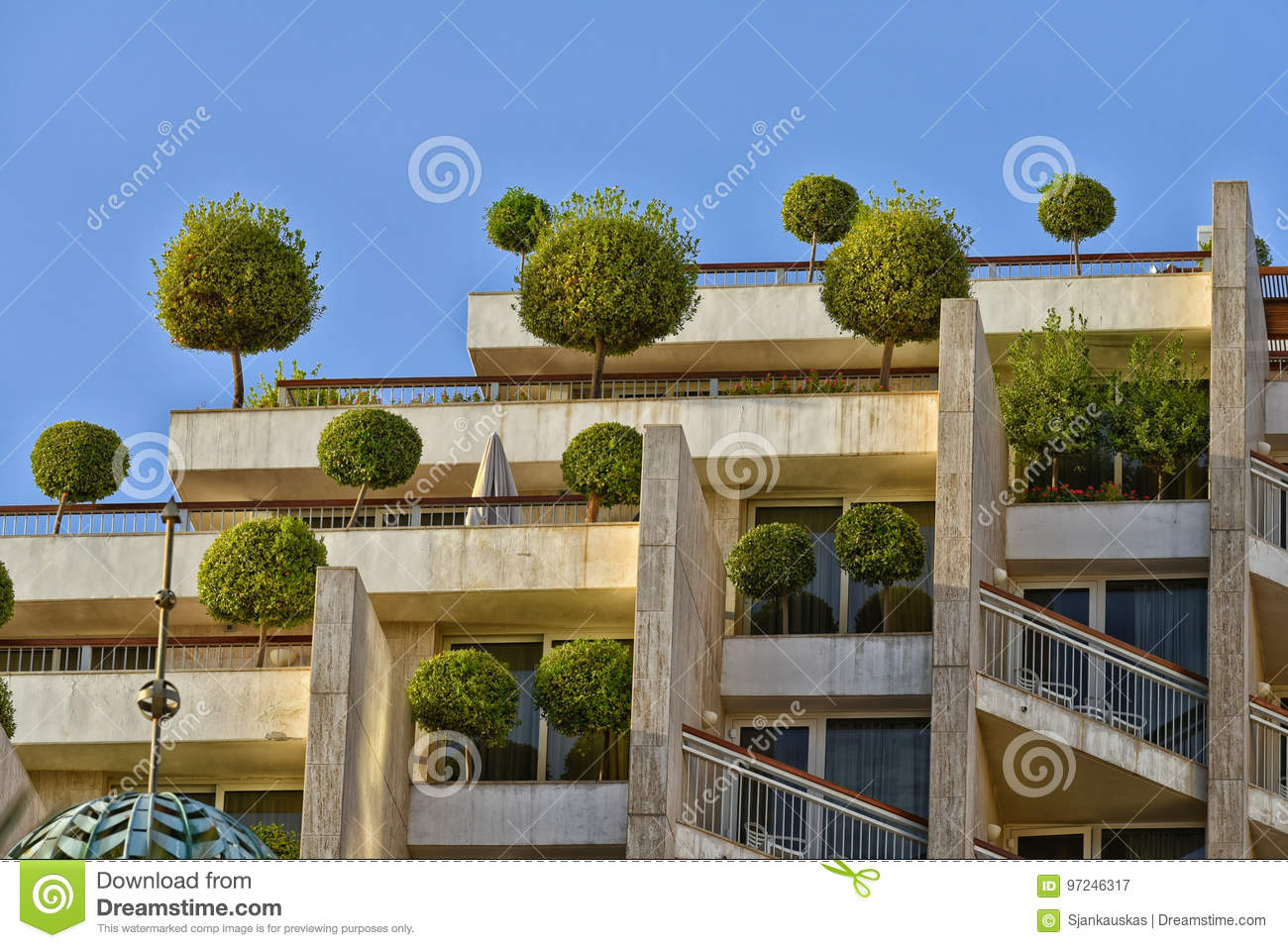 Eco building with trees