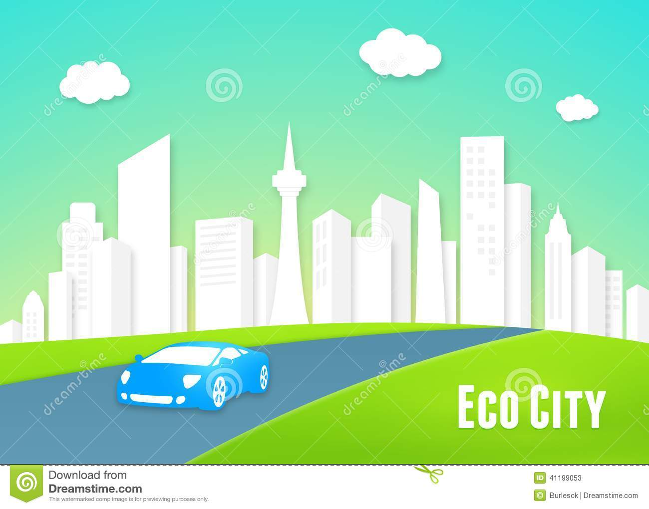 Eco city concept stock vector image of cityscape nature for Modern cleaning concept