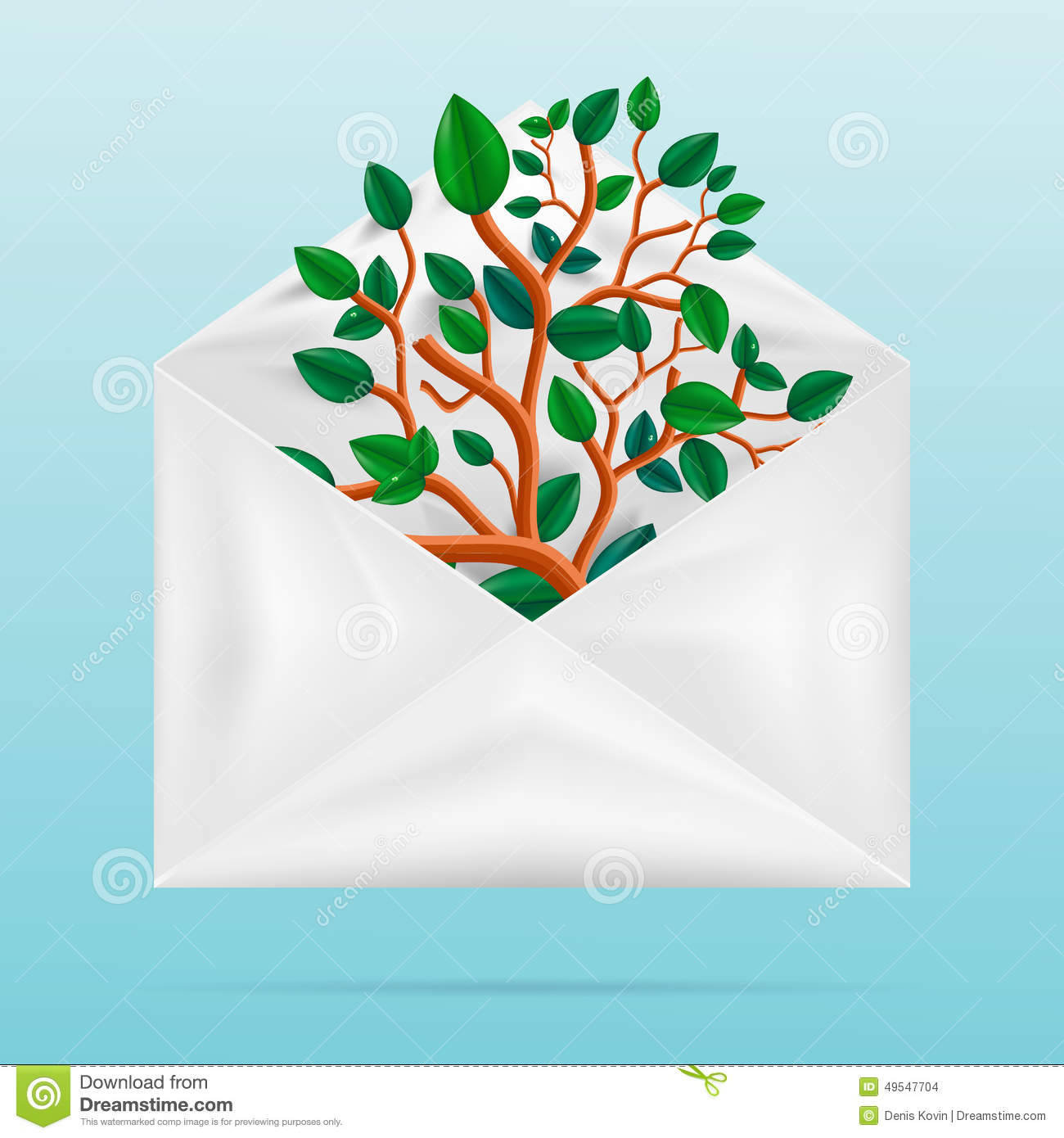 Eco concept. Green tree in paper envelope.