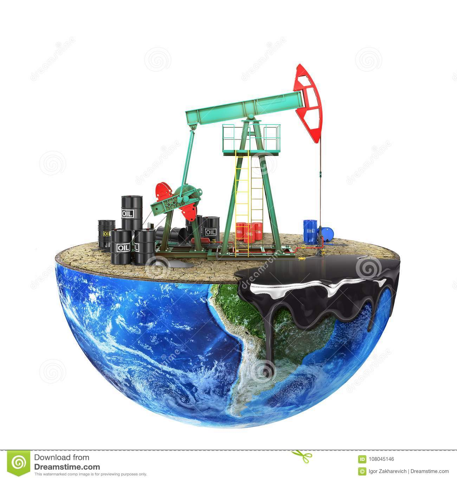 Eco-concetto Pompa di olio su un pianeta del taglio isolato su un backgr bianco