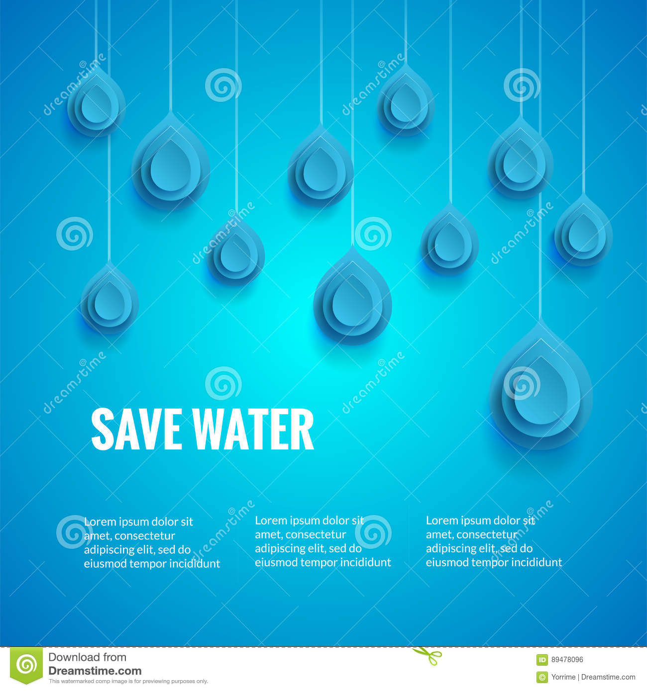 Poster design on save water - Eco Design Template Save The Water Poster Blue Background With Drop Shape Wor