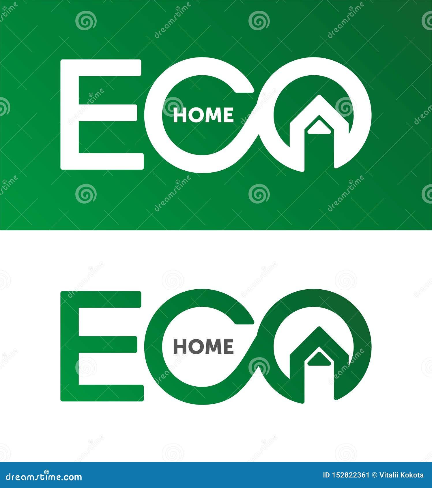 Eco dom, domowy logo, domowy logotyp, eco, zieleń, wektorowy szablon