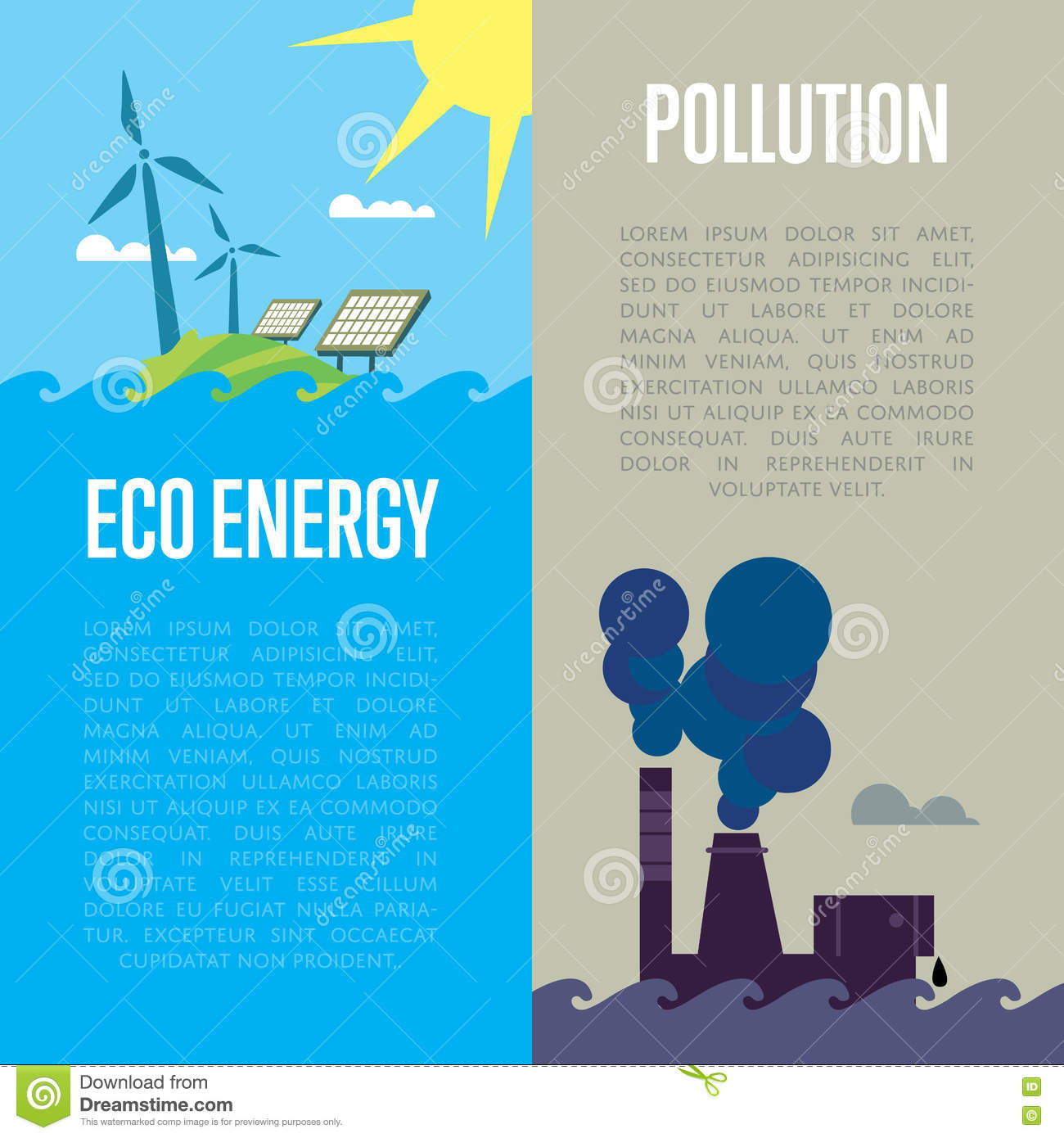 Eco Energy And Air Pollution Banners Stock Vector