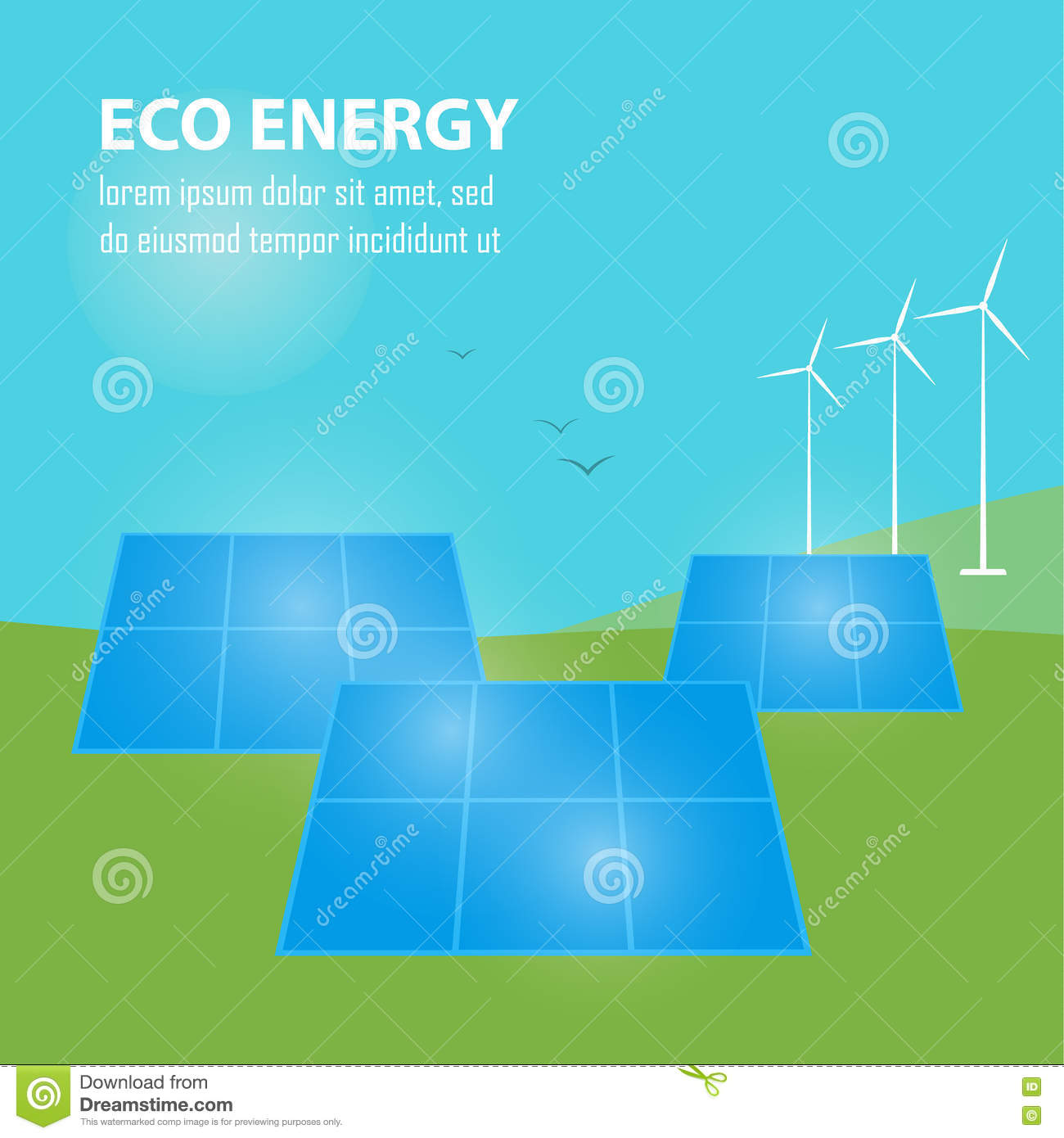 Eco Energy Banner  Sun And Wind Power Generation Stock Vector