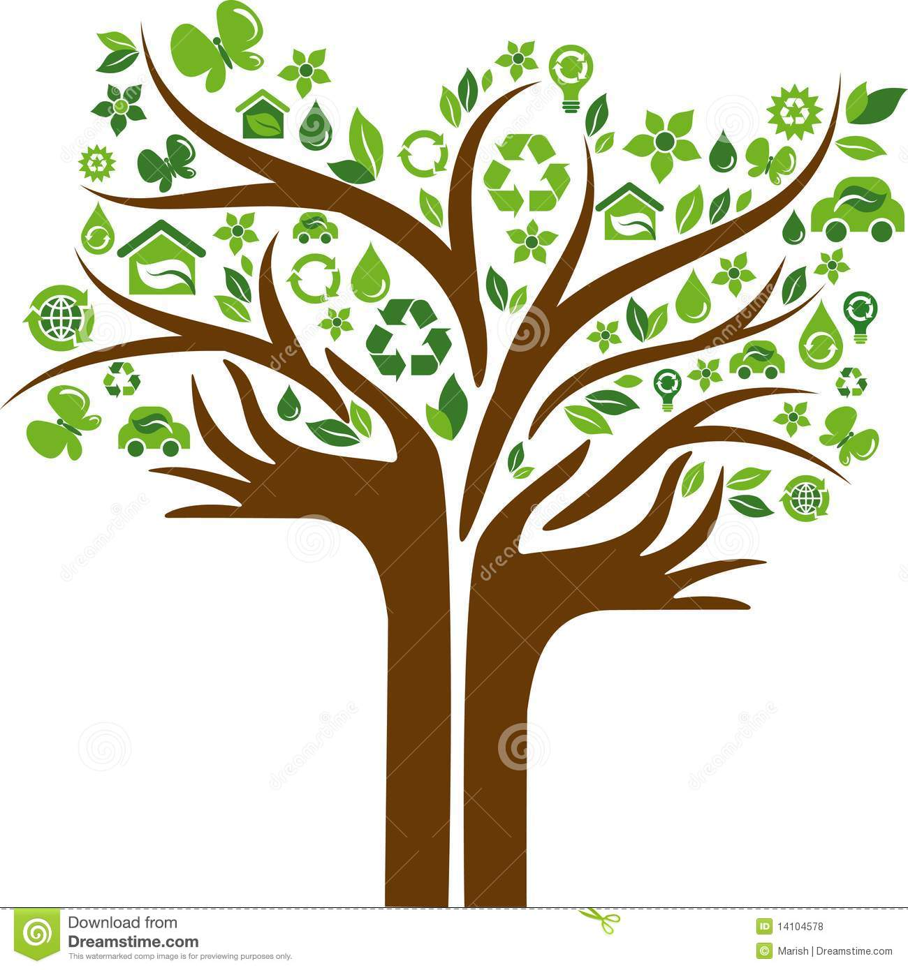 ... Icons Tree With Two Hands Royalty Free Stock Photos - Image: 14104578