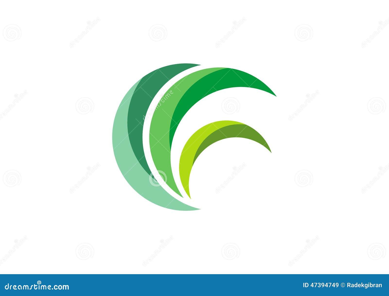 Eco esverdeia o logotipo, vetor do projeto do símbolo da planta da natureza da grama das folhas do círculo