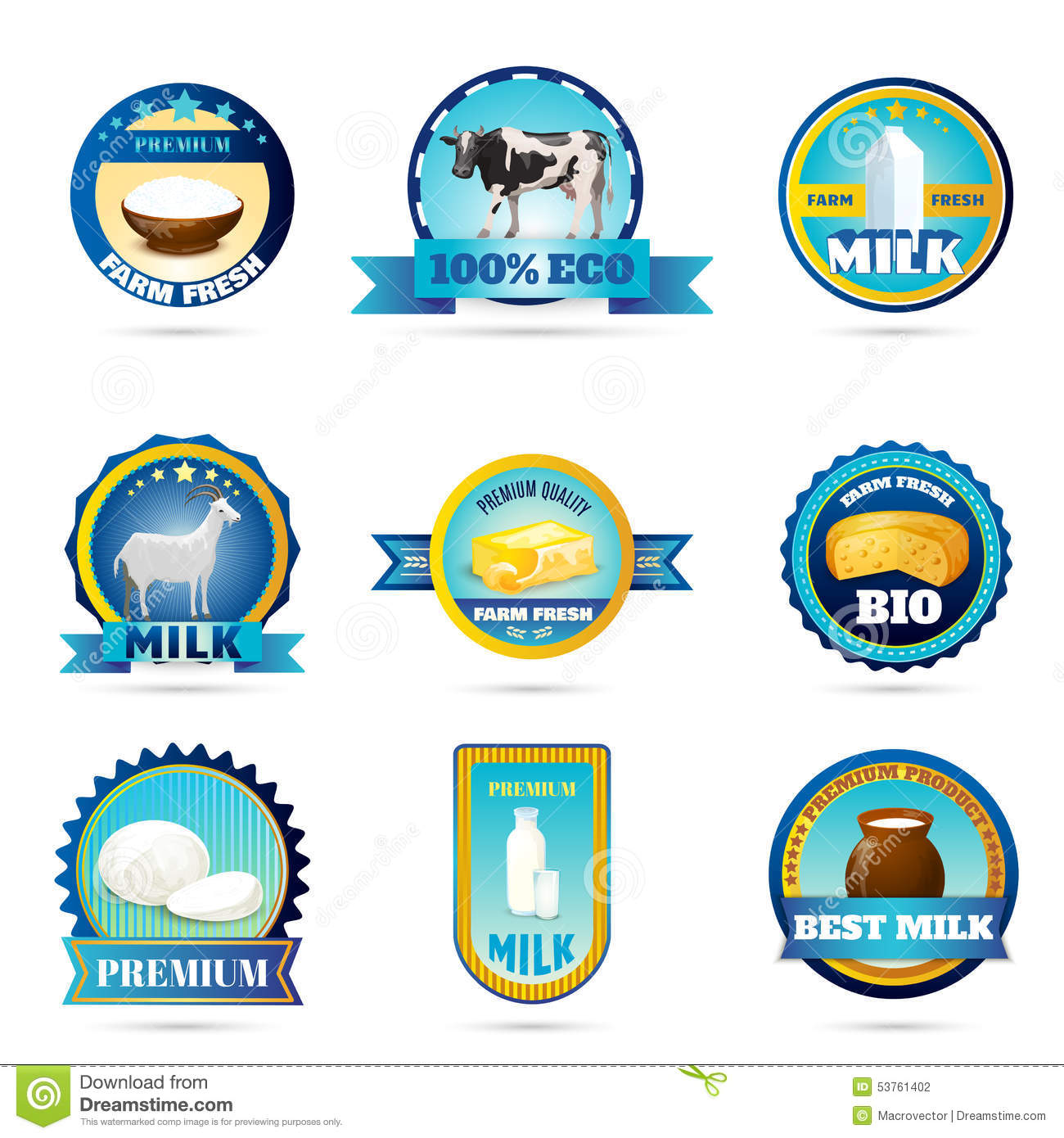 Eco Farm Milk Dairy Products Labels Stock Vector Image