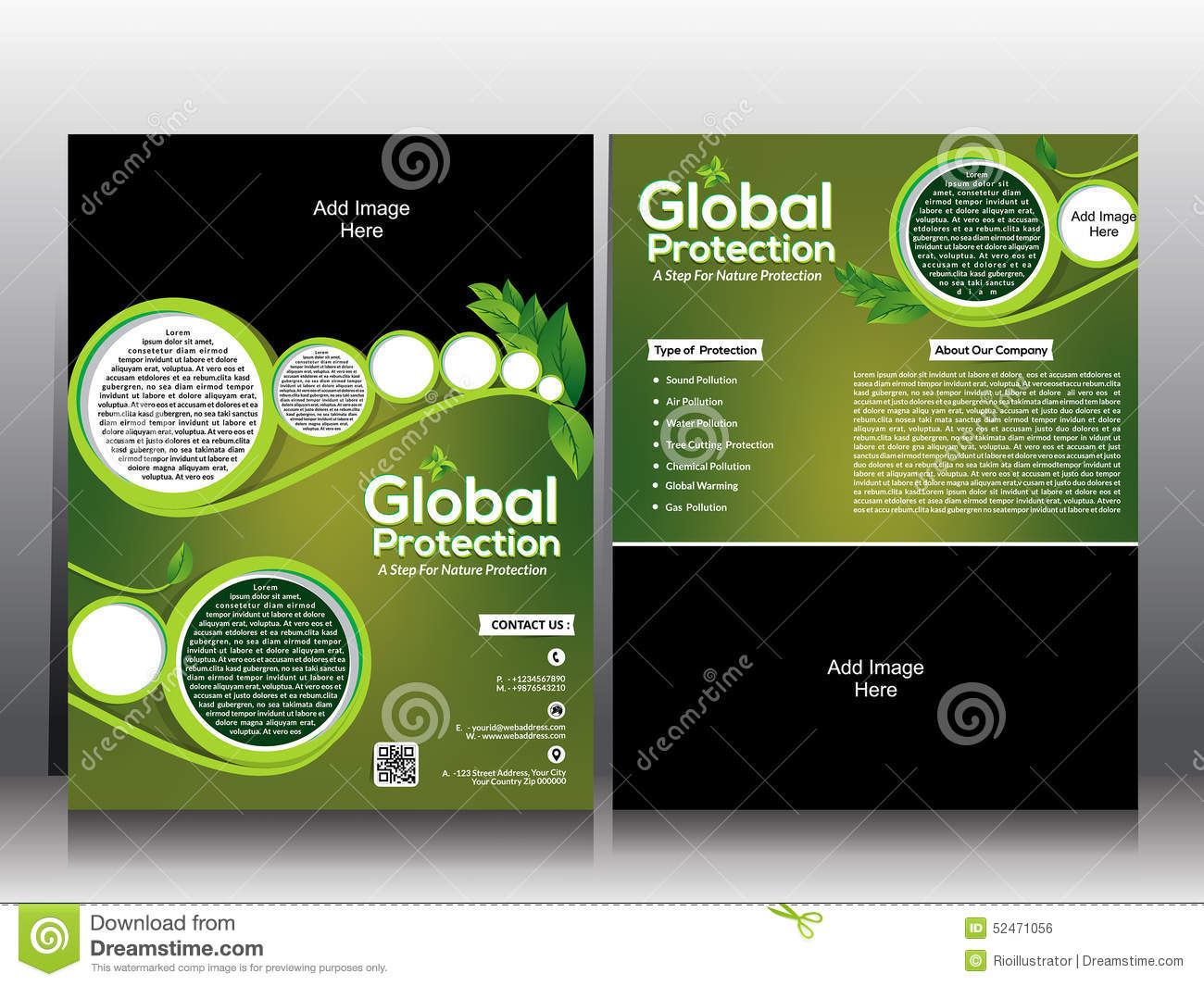 Eco Flyer Amp Global Wamring Brochure Template Design Stock