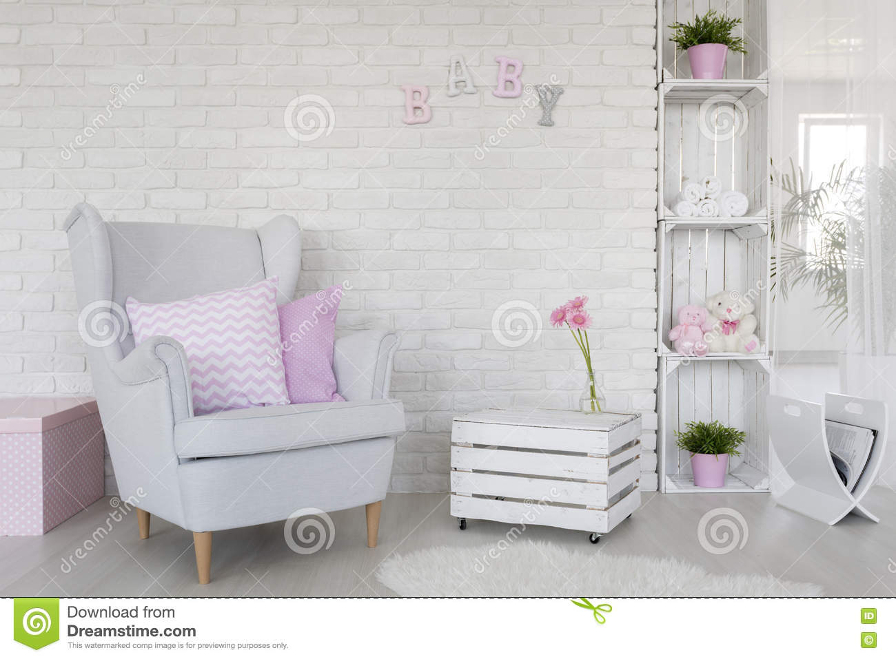 Baby Bedroom In A Box Special: Eco-friendly Baby Room Decor In White Stock Photo
