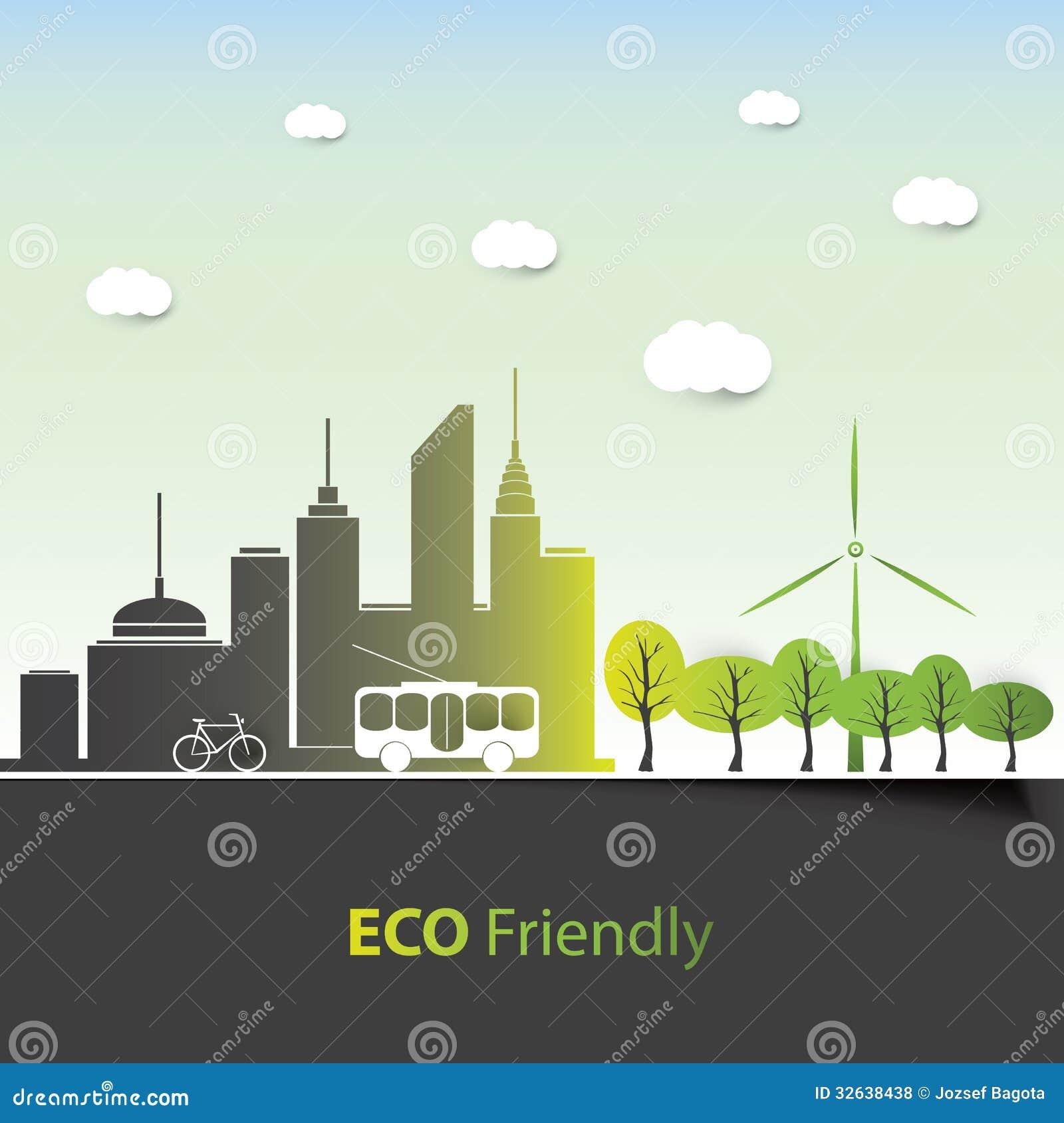 Environmental Concept Earthfriendly Landscapes: Background Design Stock Vector