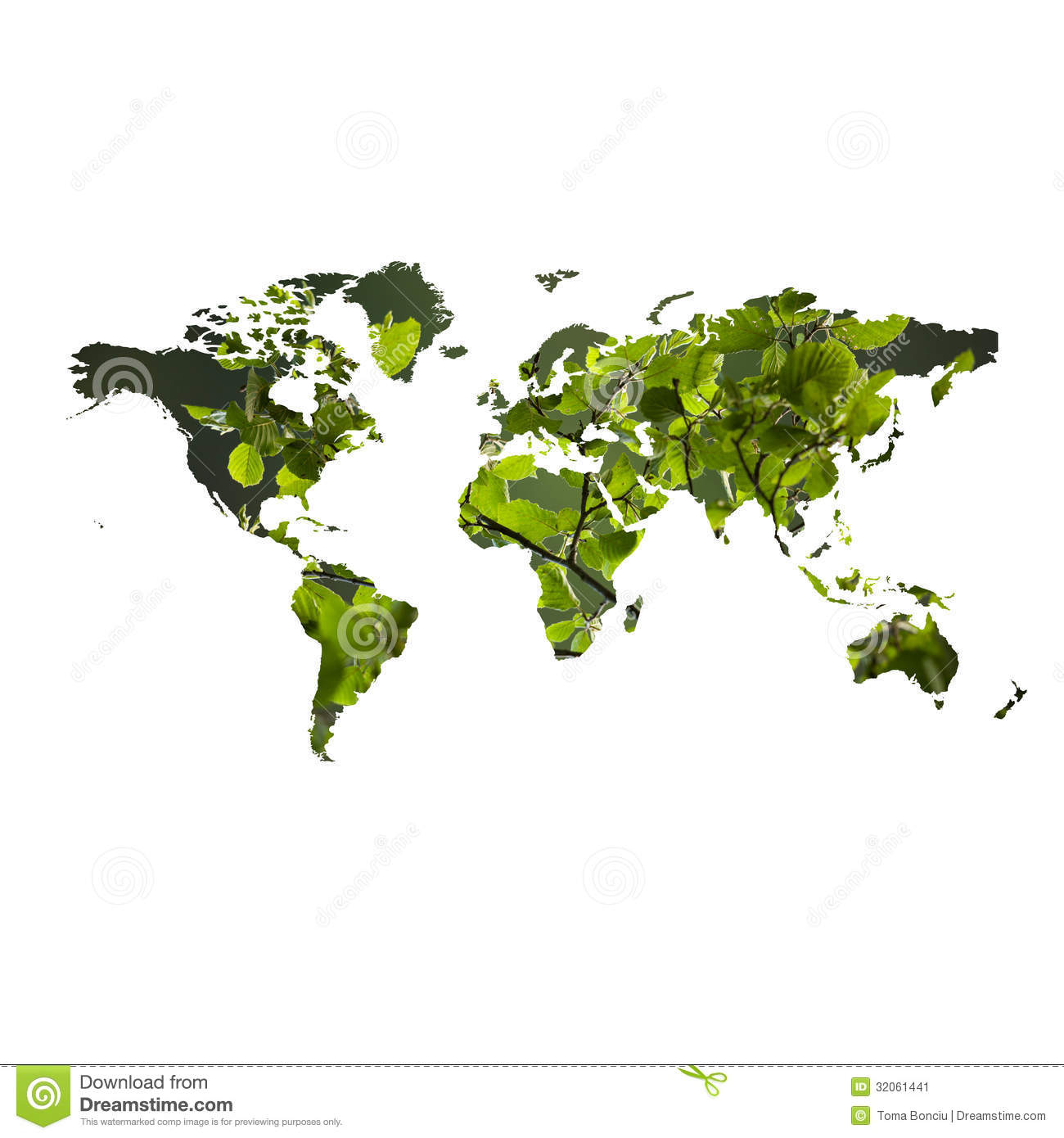 Environmental Concept Earthfriendly Landscapes: Eco Friendly Concept With Map Of The World Stock Image