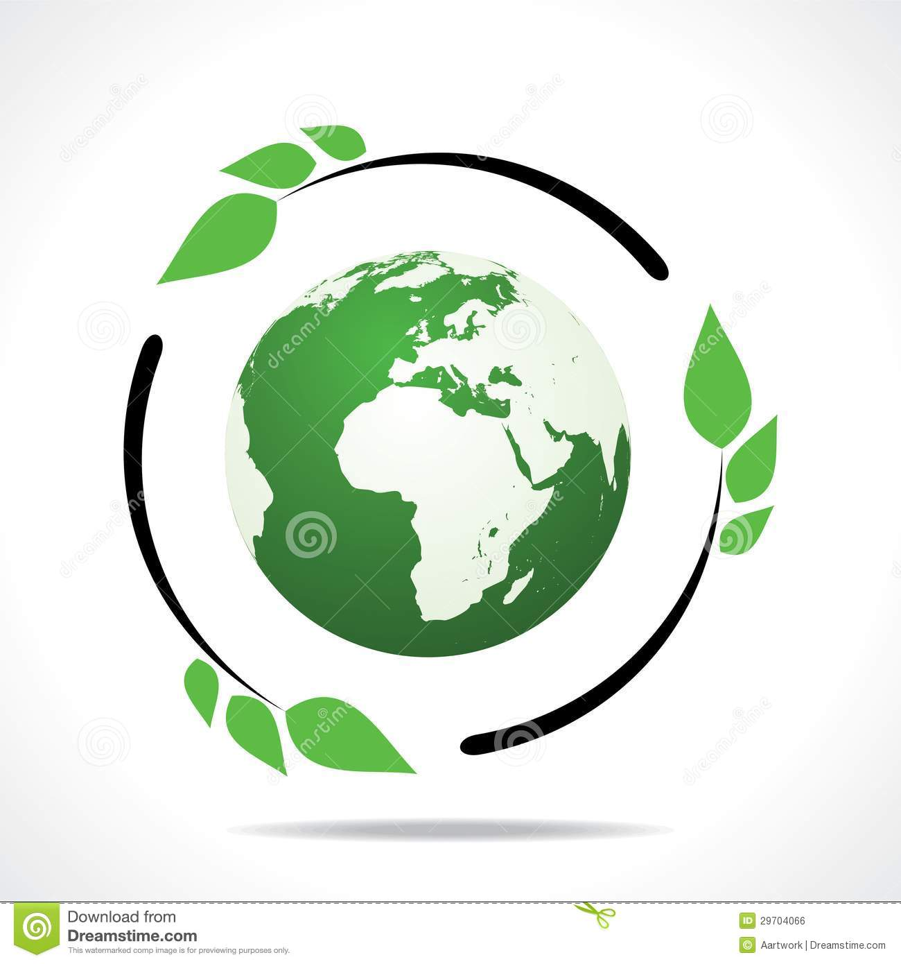 Eco Friendly Earth With Green Leaf Design Royalty Free