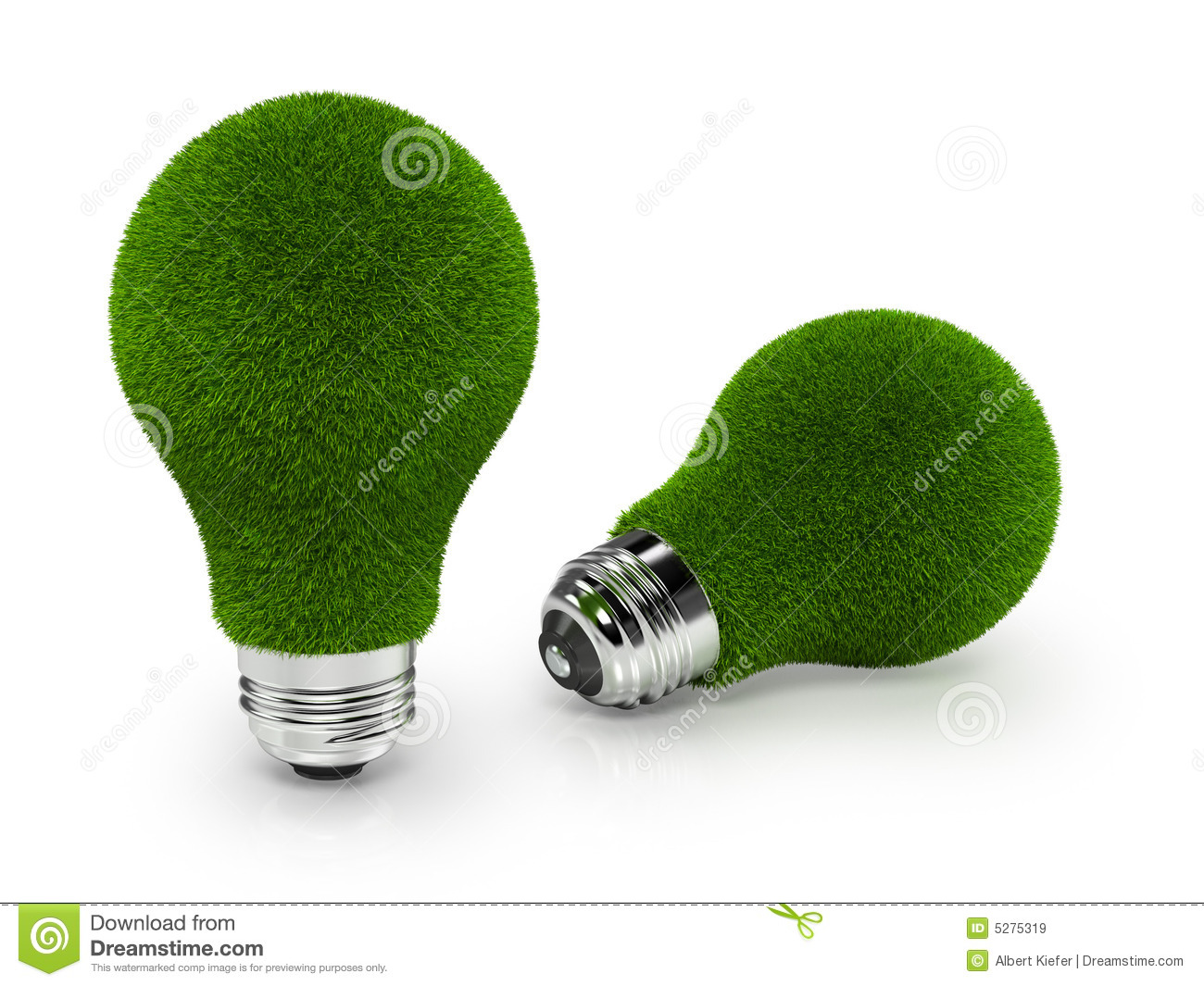 Eco Friendly Green Grass Light Bulbs On White Back Royalty Free Stock Images Image 5275319