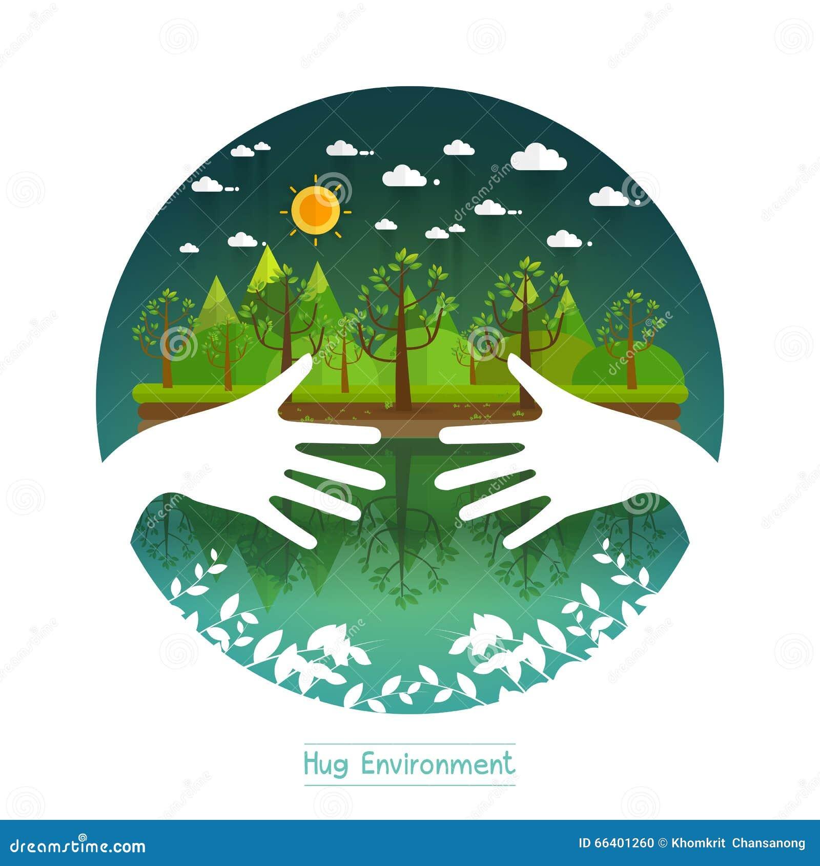 Environmental Concept Earthfriendly Landscapes: Eco Friendly Hands Hug Concept Green Tree.Environmentally