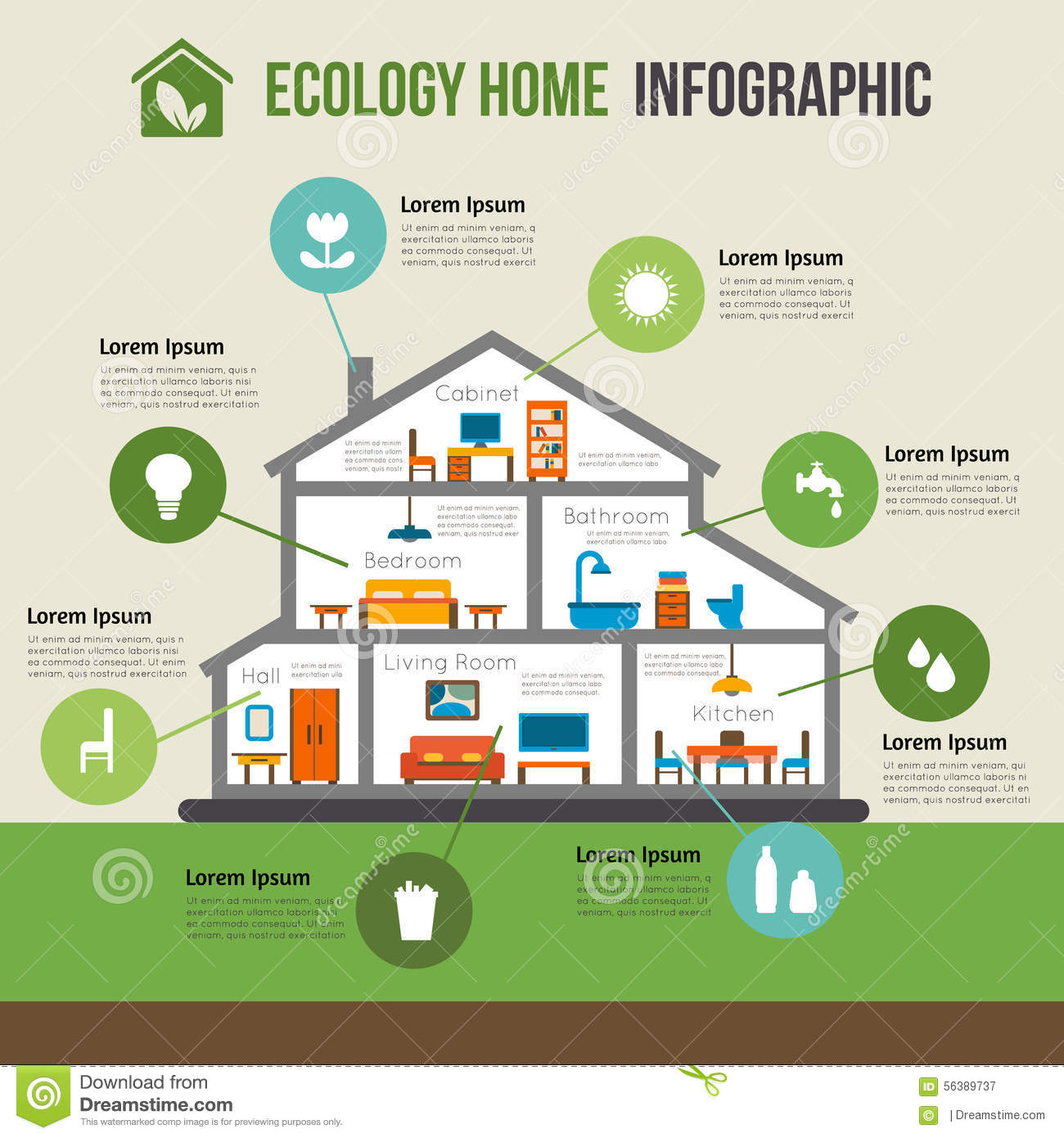 Eco House Designs And Floor Plans Eco Friendly Home Infographic Stock Vector Illustration